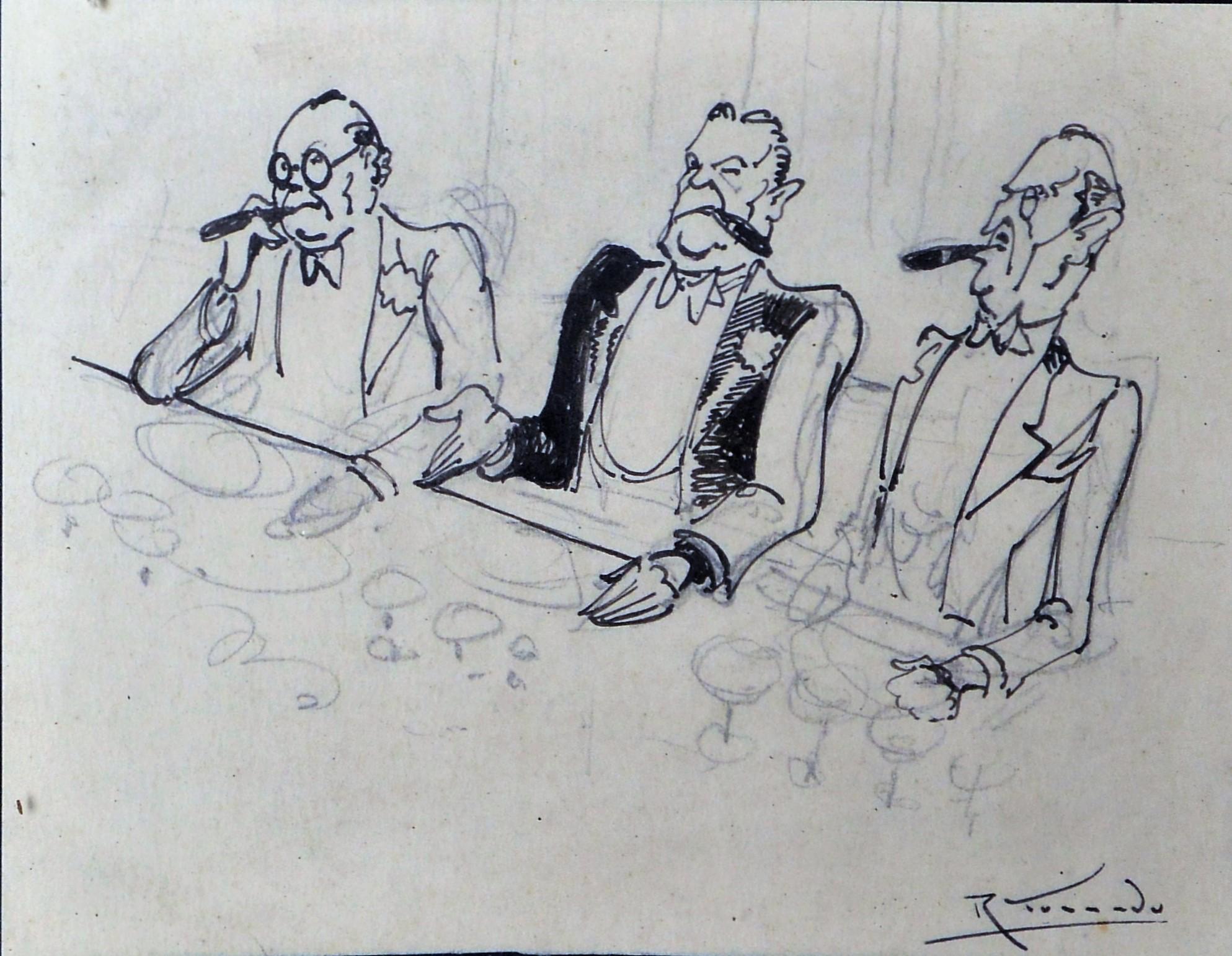 """Ramón Torrado – """"Cena de negocios"""" dibujo tinta papel, enmarcado ..."""