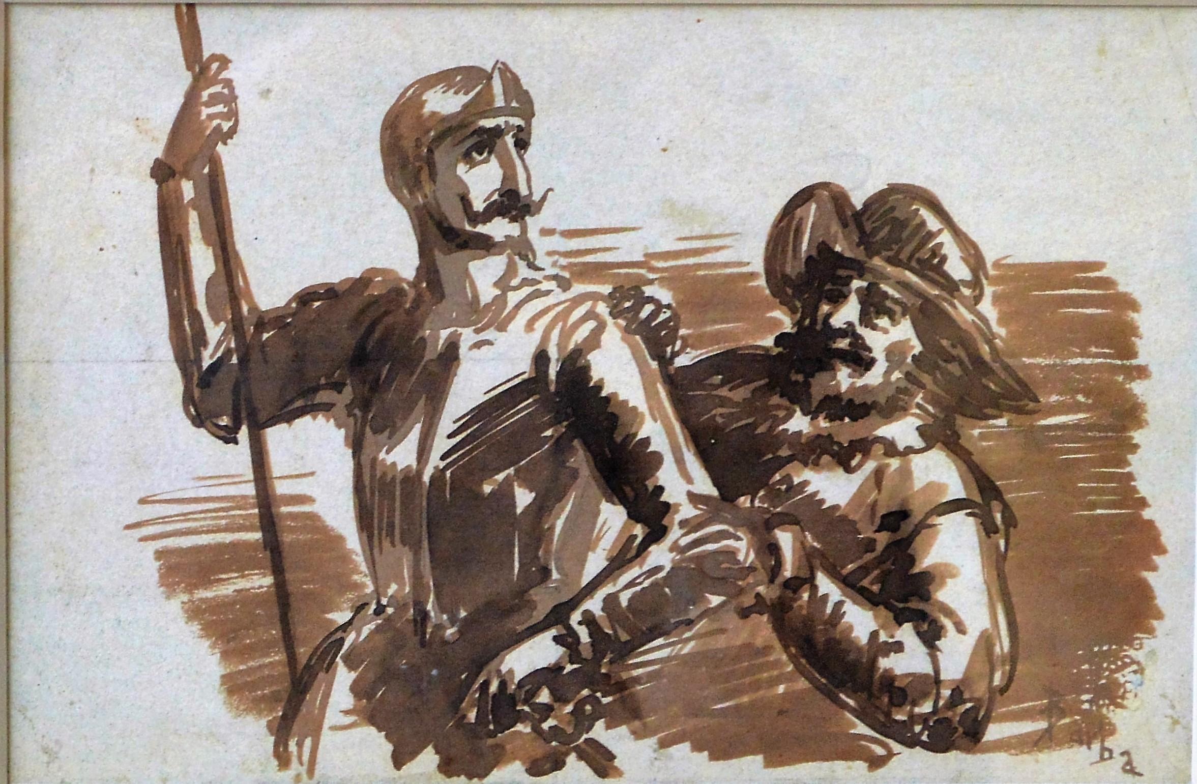 """Juan Barba – """"Don Quijote y Sancho"""" dibujo tinta y aguada papel ..."""