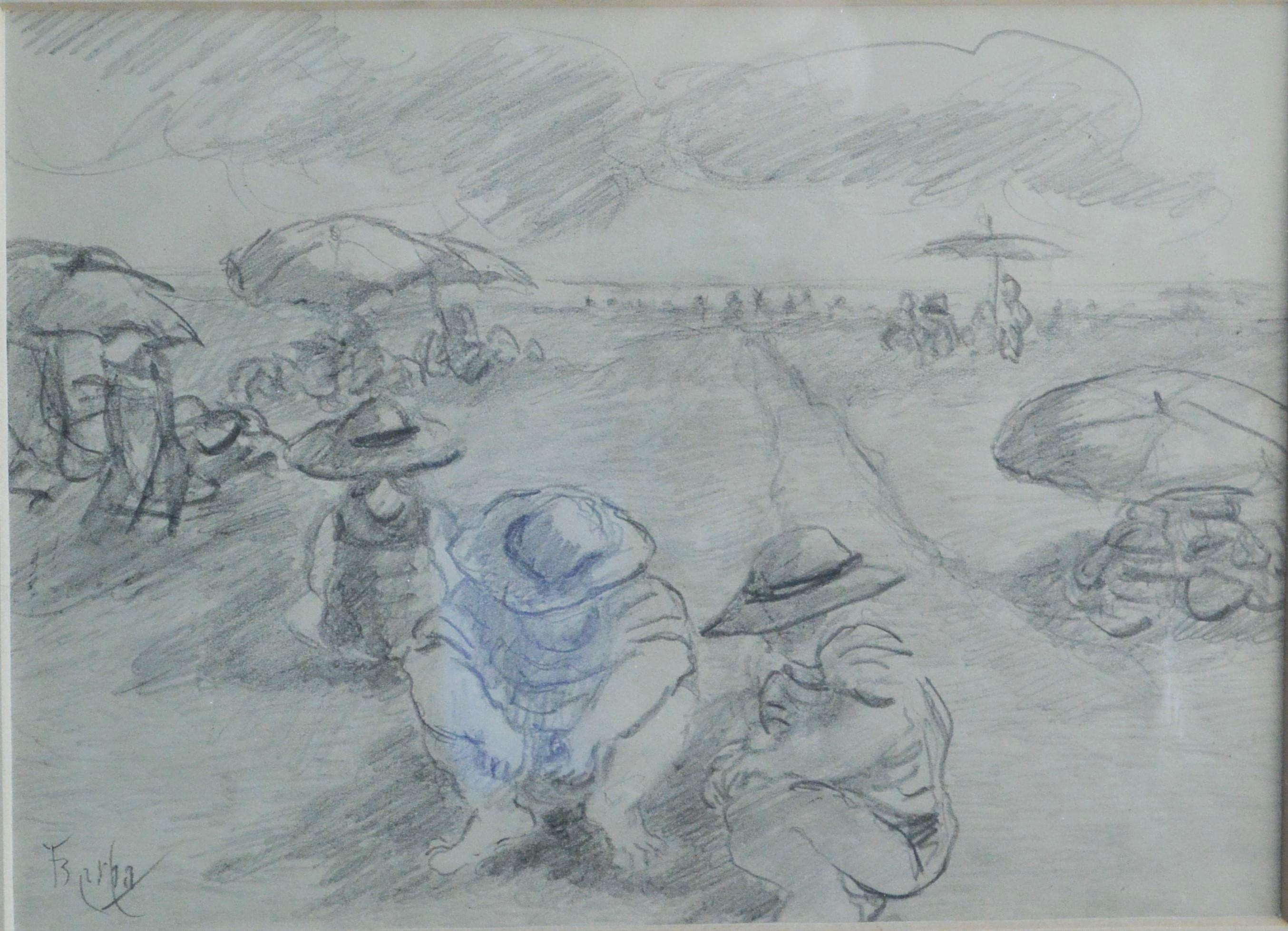 """Juan Barba – """"Un día de playa"""" dibujo lápiz papel, enmarcado – El ..."""