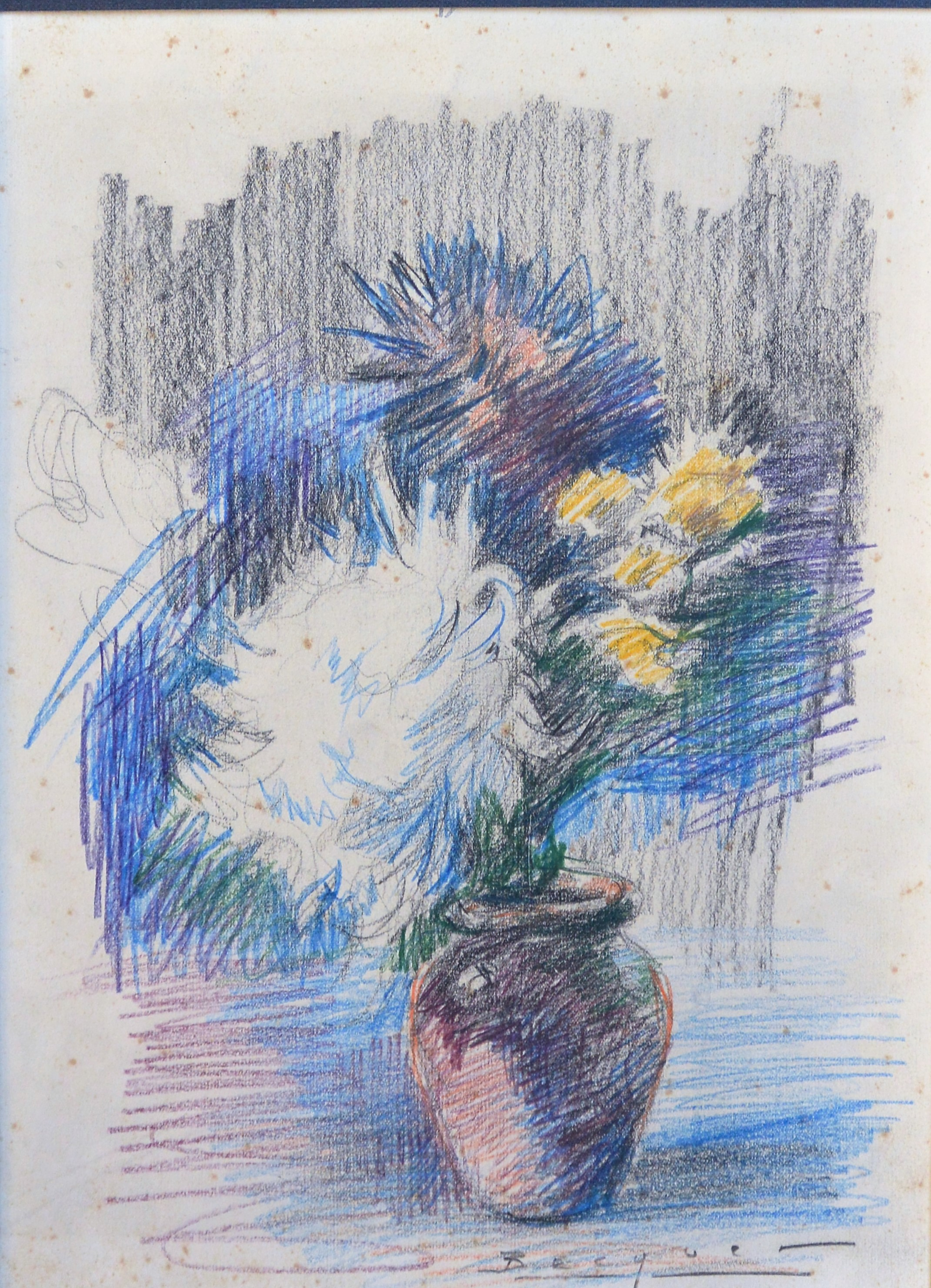 Carlos Becquer Jarrón Con Flores Dibujo Carboncillo Y Lápices