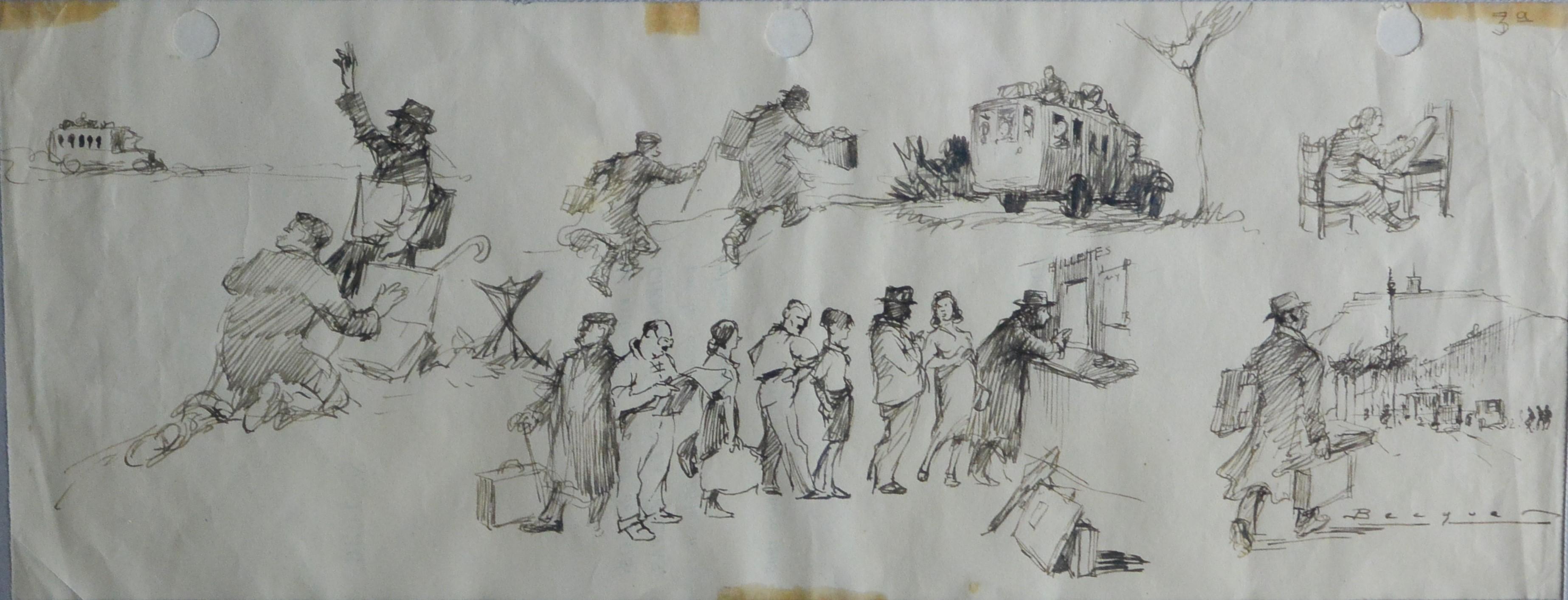"""Carlos Becquer – """"Salida al campo III"""" dibujos tinta papel ..."""