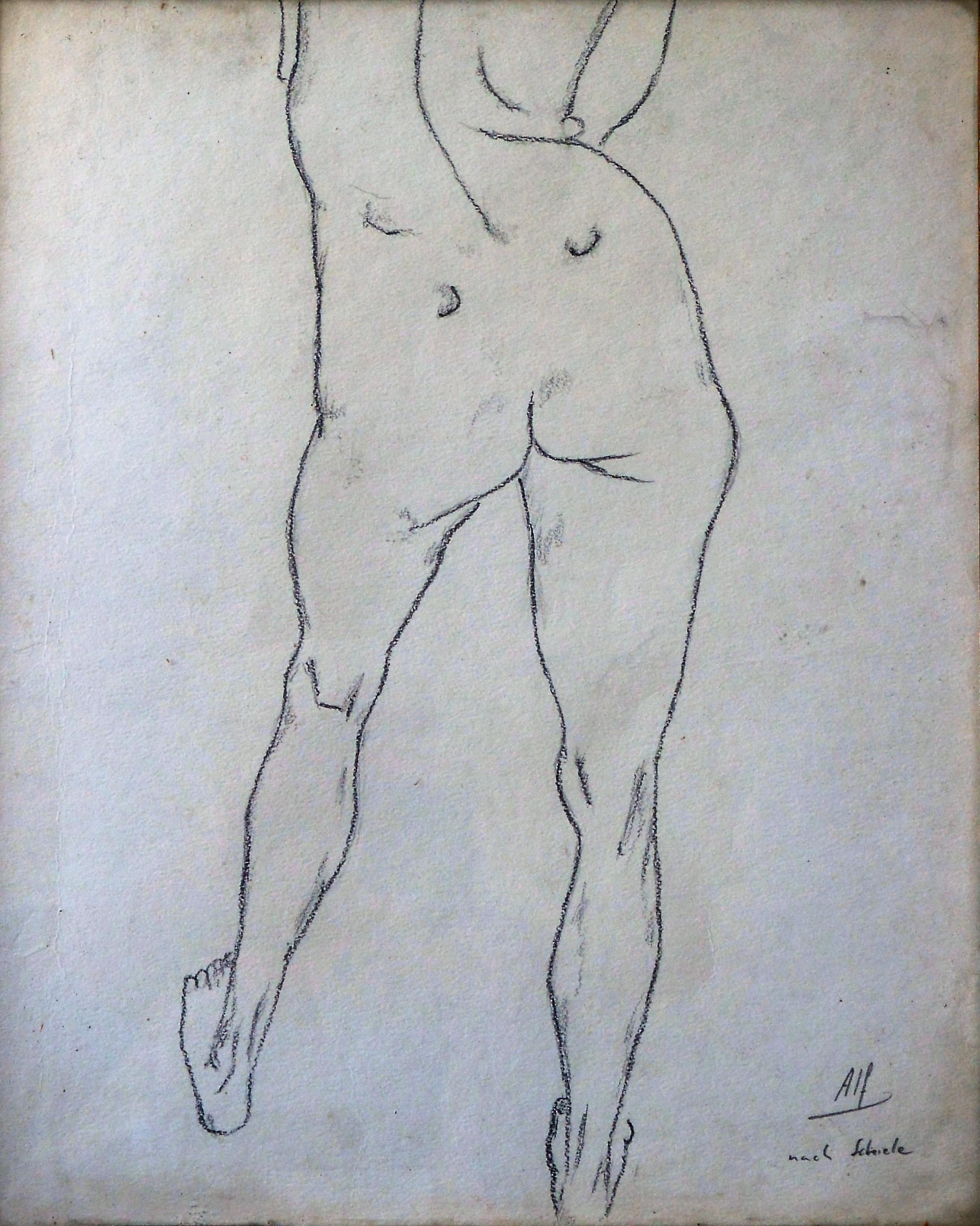 Ilegible Mujer Desnuda De Espaldas Dibujo Lápiz Papel Enmarcado