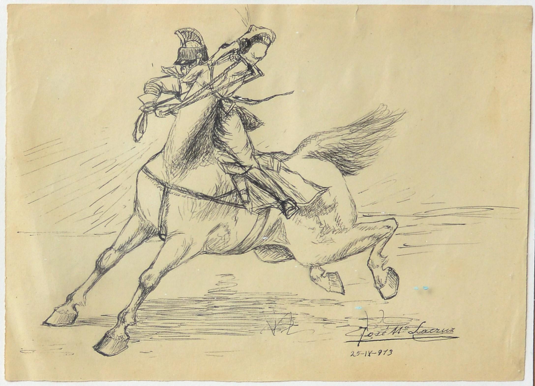 "José María Lacruz 1913 – ""Caballo desbocado"" dibujo lápiz papel ..."