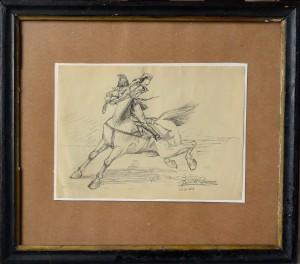 Lacruz José María 1913, Caballo desbocado, dibujo lápiz papel, enmarcado, dibujo 16x22 y marco 31x35 (7)