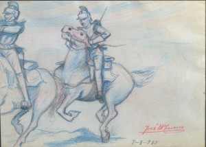 Lacruz Jose María. Jinetes, dibujo lápiz papel, enmarcado, dibujo 16,50x23 y marco 27x33 cms. 120 (3)