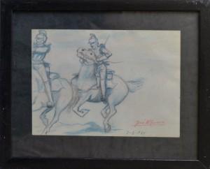 Lacruz Jose María. Jinetes, dibujo lápiz papel, enmarcado, dibujo 16,50x23 y marco 27x33 cms. 120 (5)
