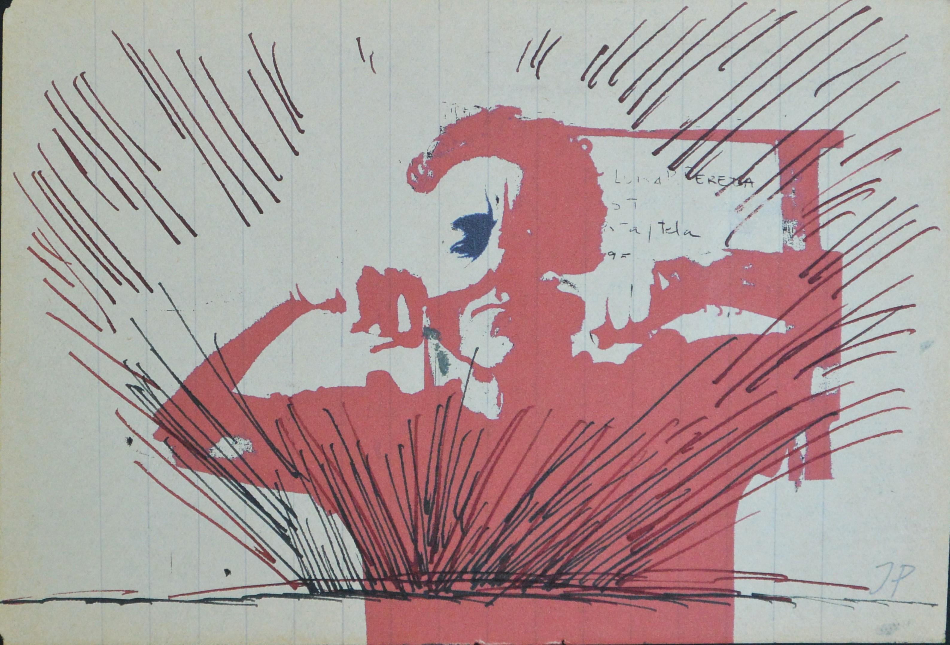 """Javier Pagola – """"Autorretrato en rojo"""" tinta sobre impresión ..."""
