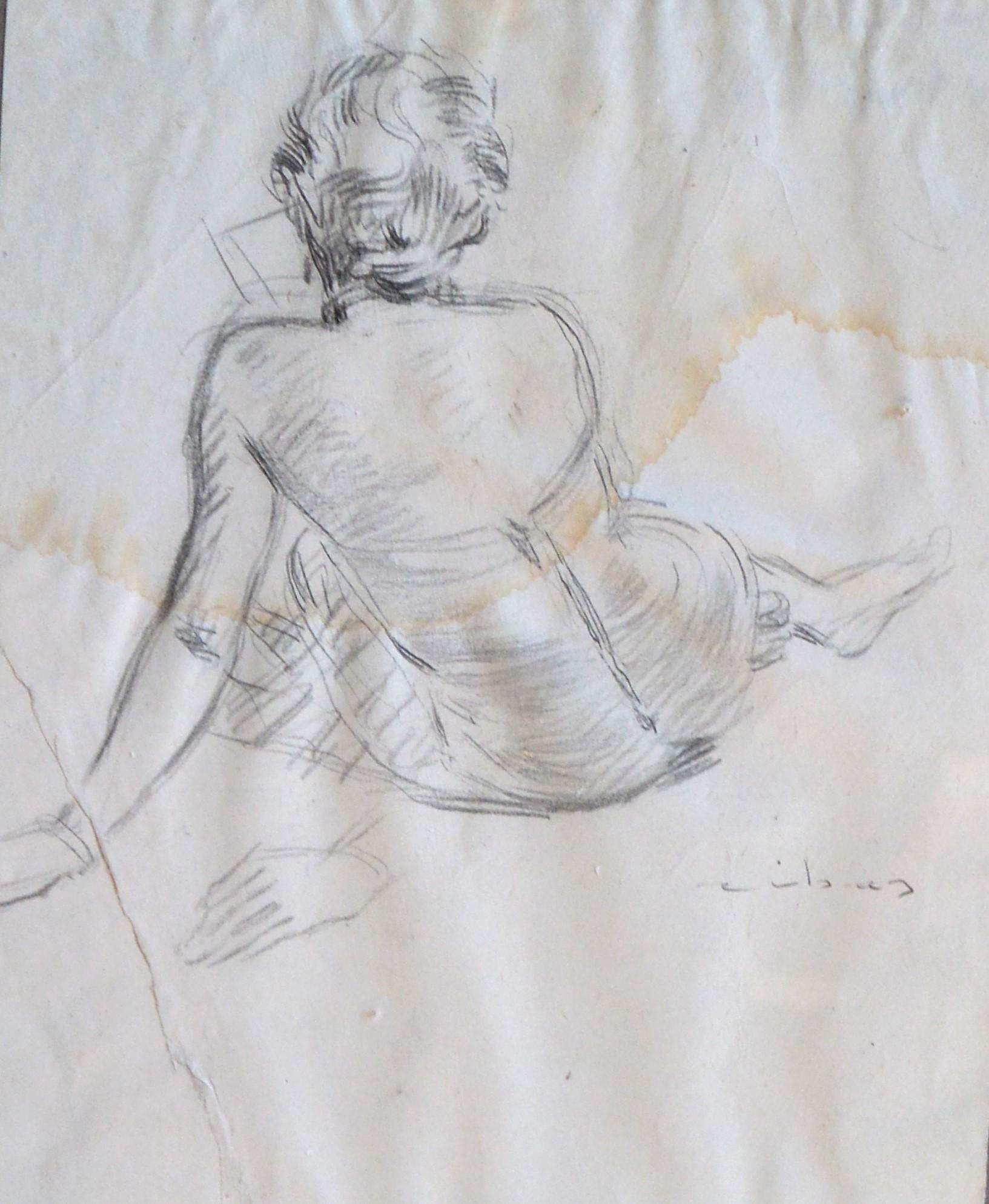 Federico Rivas Montenegro Mujer Leyendo De Espaldas Dibujo Lápiz