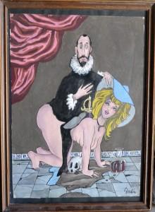 Serafín Rojo, Caballero de la Mano en el pecho, acuarela papel, enmarcado, dibujo 45x33 cms. y marco 53x39 cms.  (3)