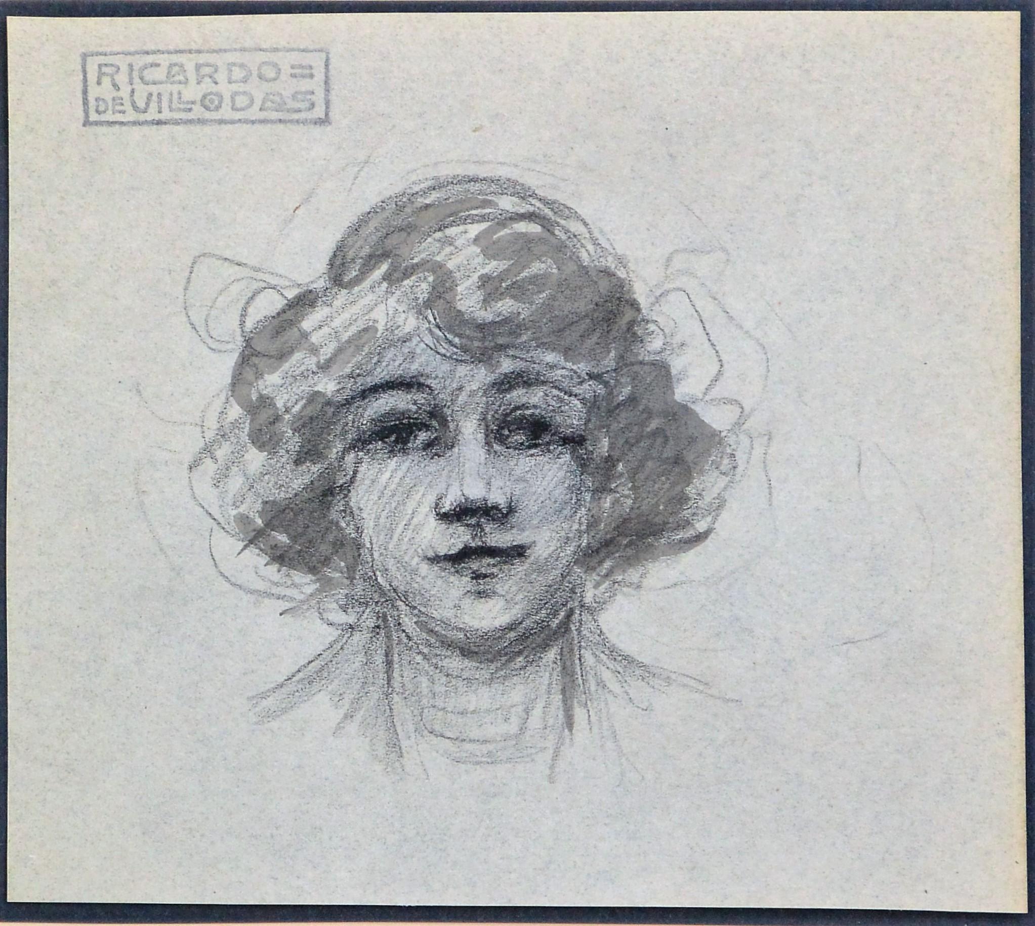 "Ricardo de Villodas – ""Cabeza de mujer joven"" dibujo lápiz papel ..."