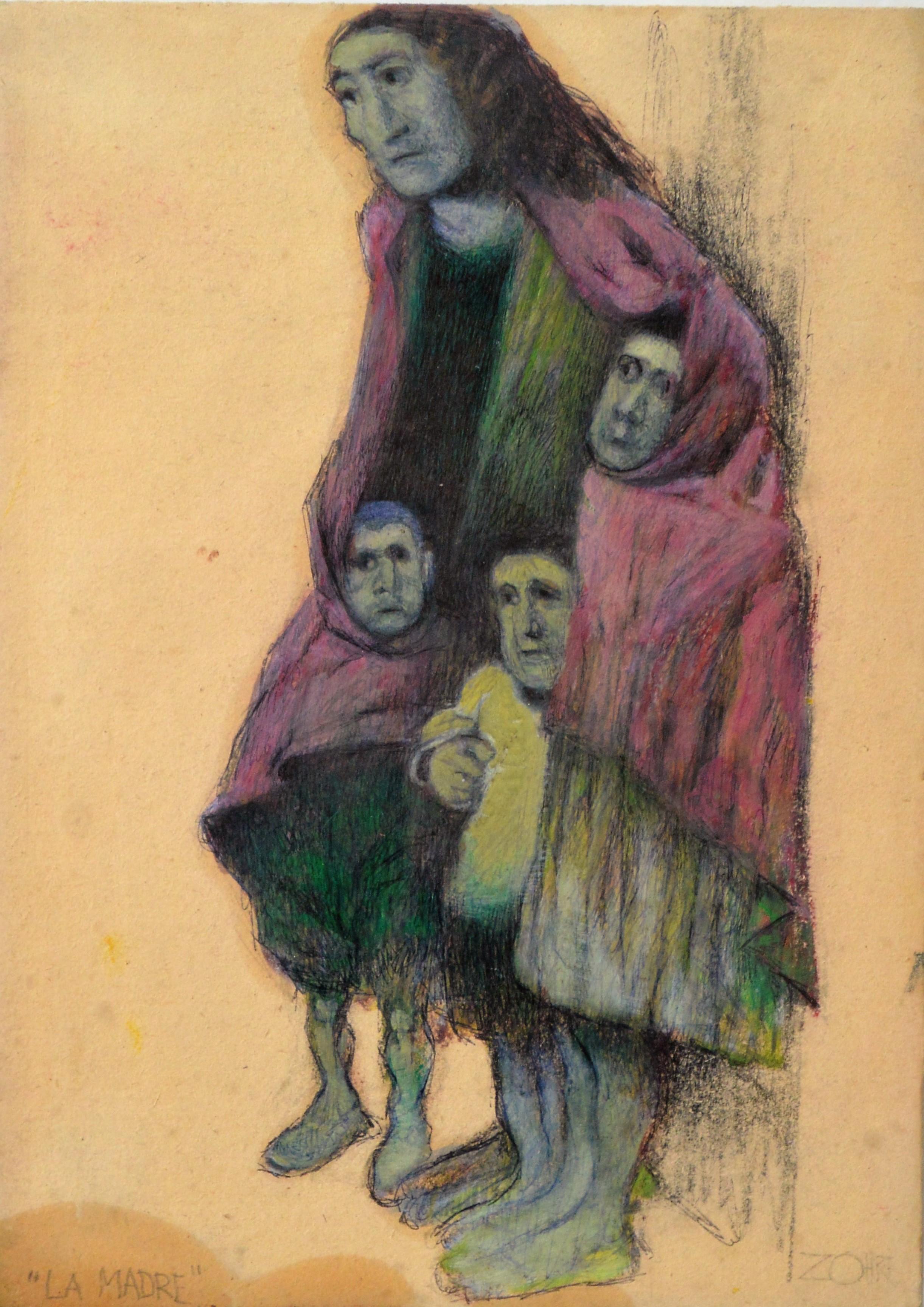 """Zohre Mirabassi – """"La Madre"""" dibujo oleo en barra cartulina ..."""