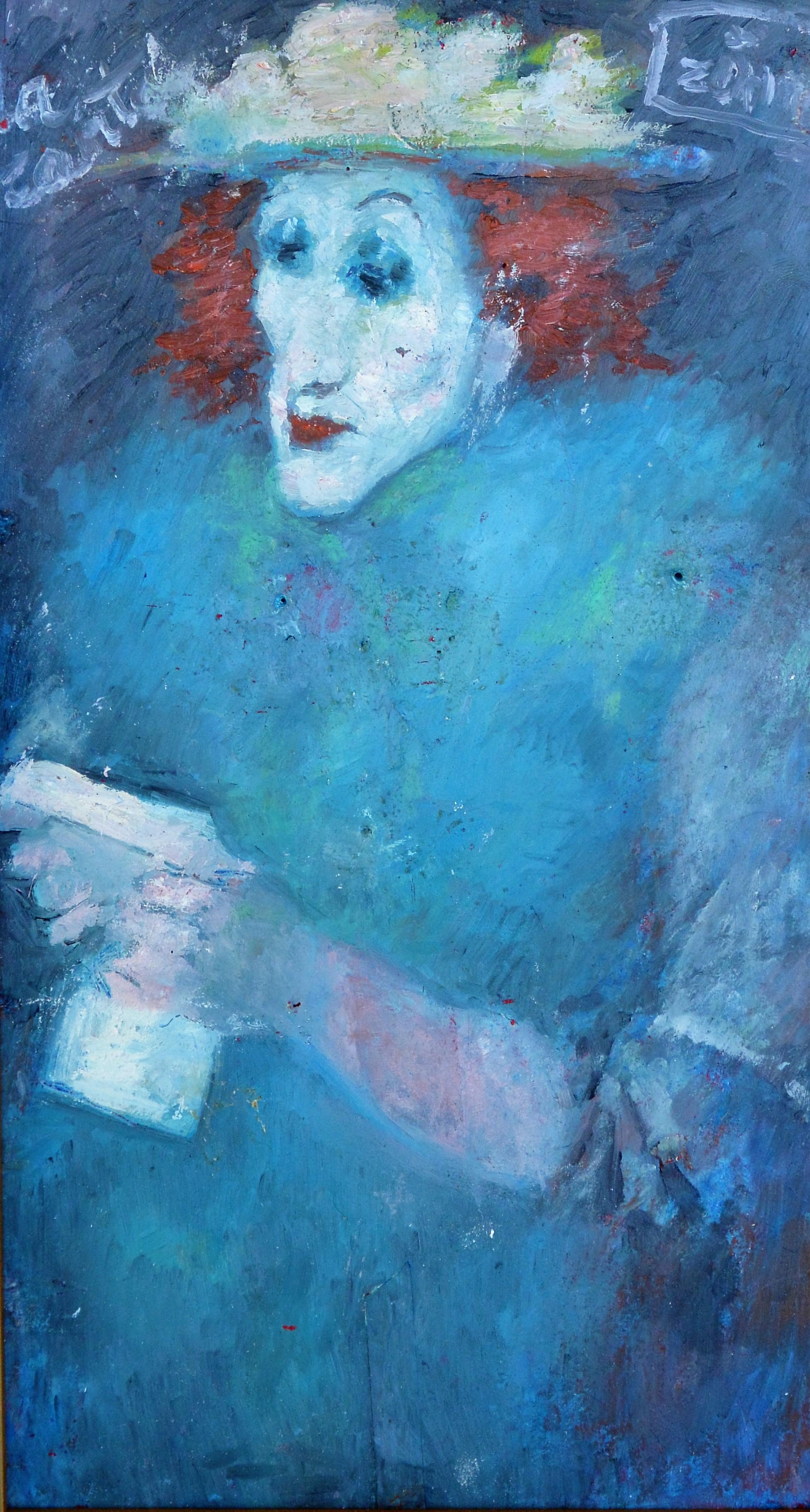 """Zohre Mirabassi – """"Mujer pelirroja en azules"""" dibujo oleo en barra ..."""