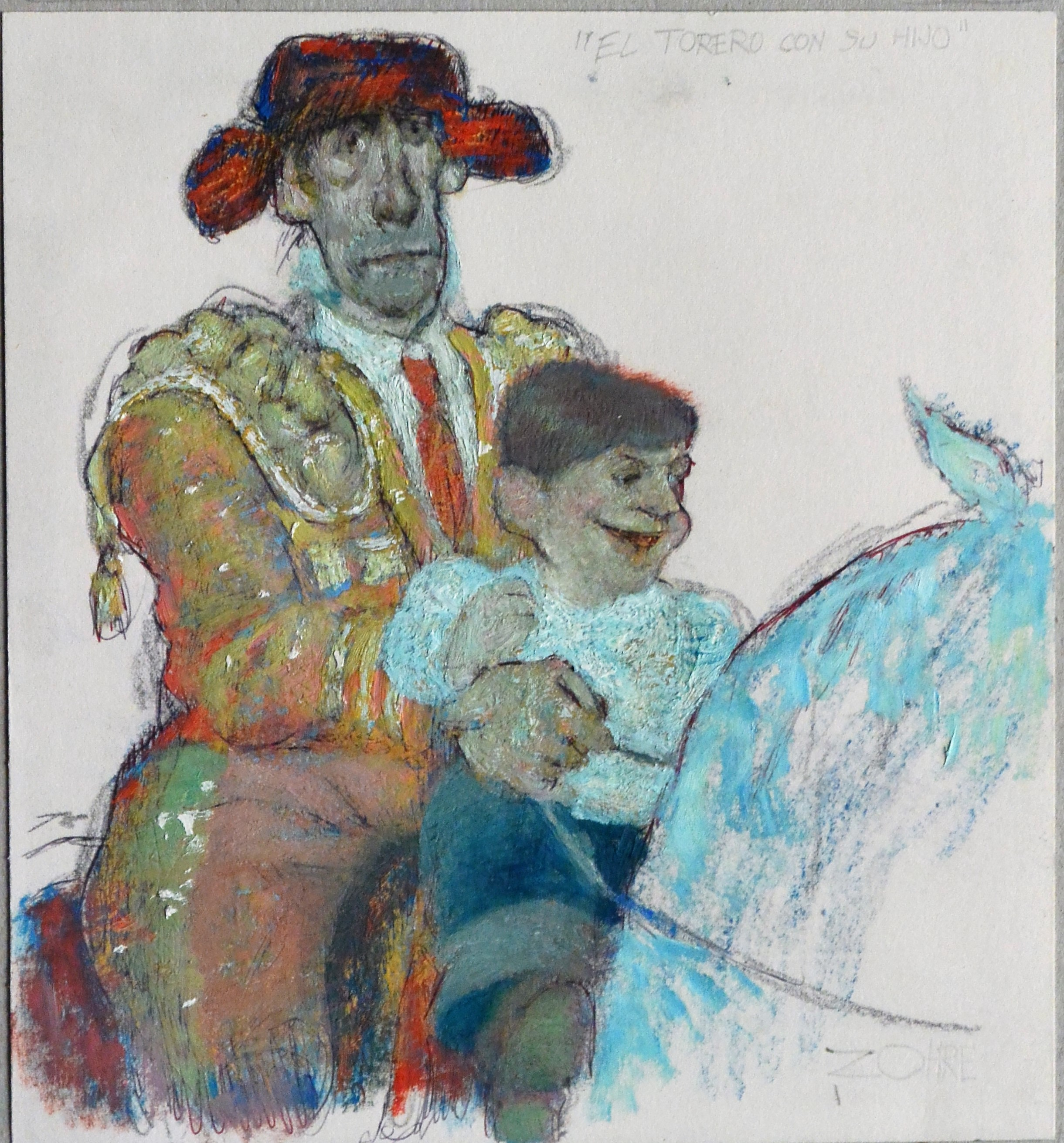 """Zohre Mirabassi – """"Torero con su hijo"""" dibujo oleo en barra ..."""