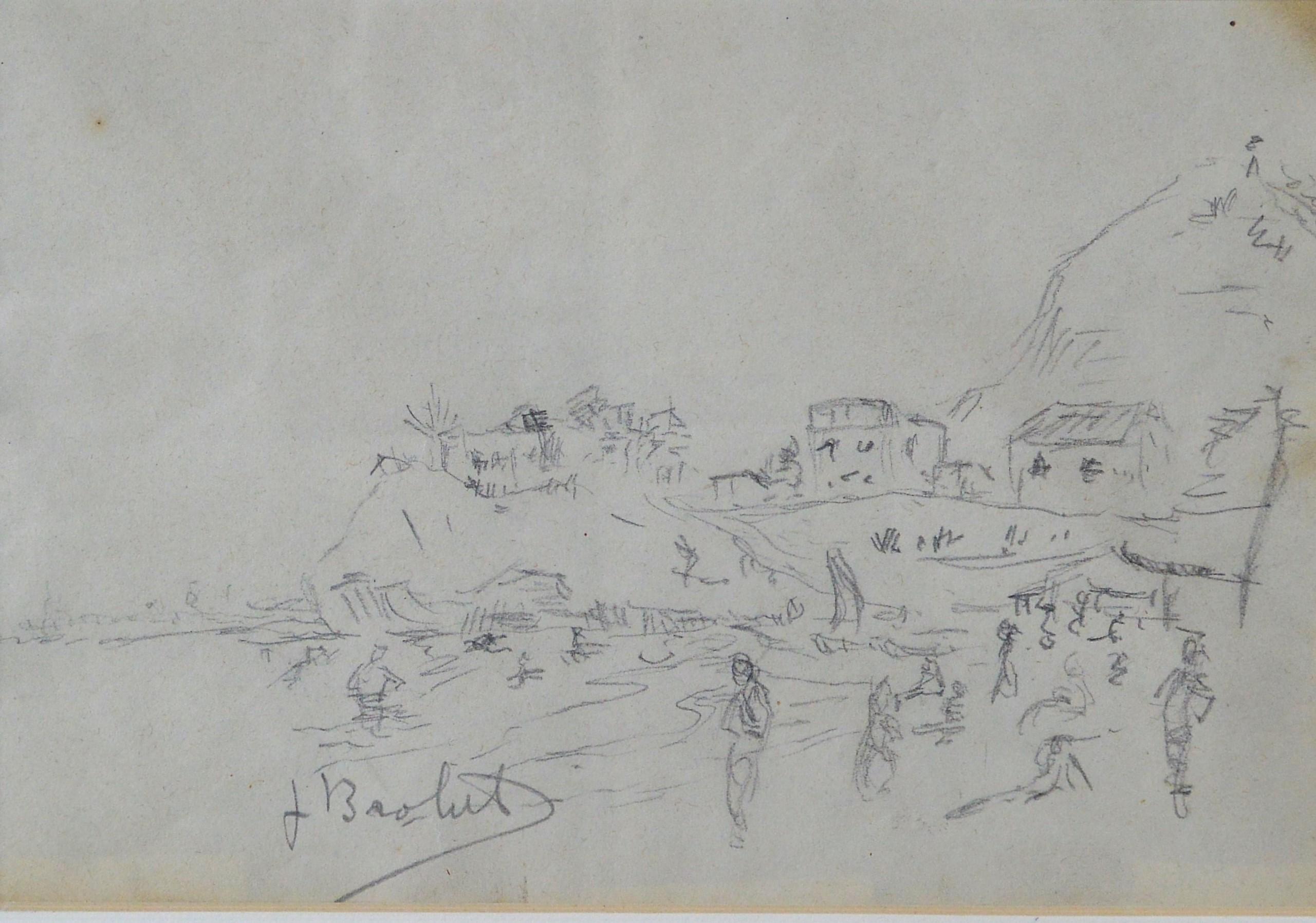 "Joan Brotat – ""Paisaje de playa"" dibujo lápiz papel, enmarcado – El ..."
