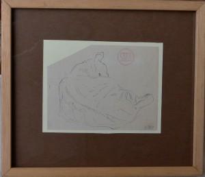 Sala Emilio, Gato tumbado de espaldas, dibujo plumilla papel, enmarcado, dibujo 12,50x16 cms. y marco 26x29,50 cms.  (6)