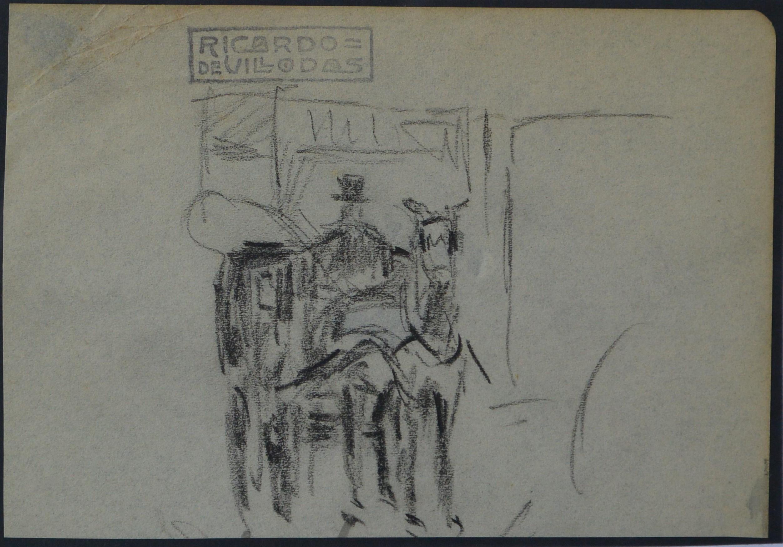 "Ricardo de Villodas – ""Carruaje"" dibujo lápiz papel, enmarcado – El ..."