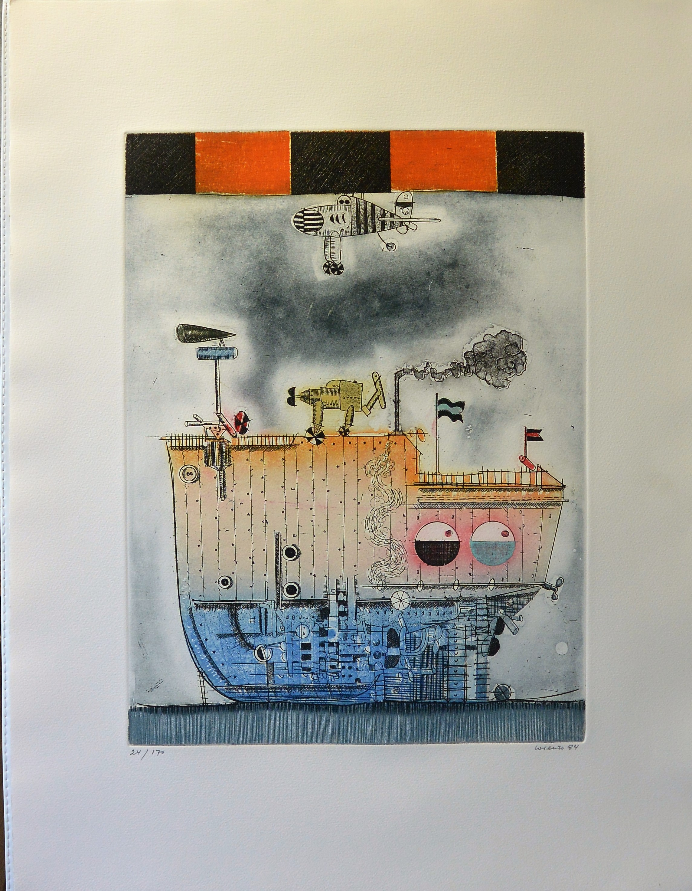 """Antonio Lorenzo 1984 – """"Trama dos, Barco"""" grabado aguafuerte color ..."""