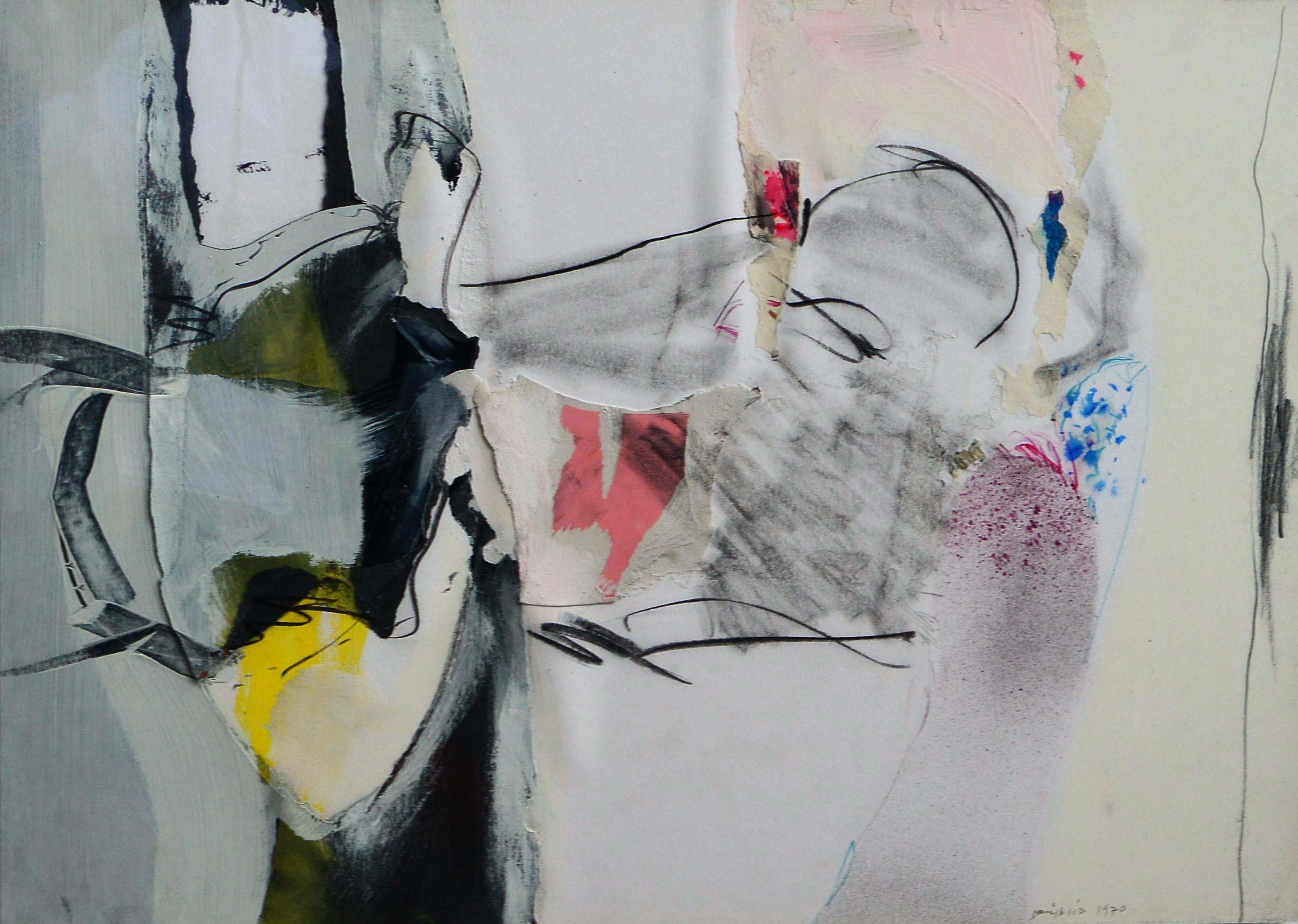 """Bonifacio 1970 – """"Composición sin título"""" pintura técnica mixta y ..."""