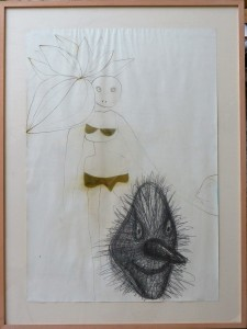 Javier pagola 2002 m scara sonriente dibujo t cnica for Marco 100x70