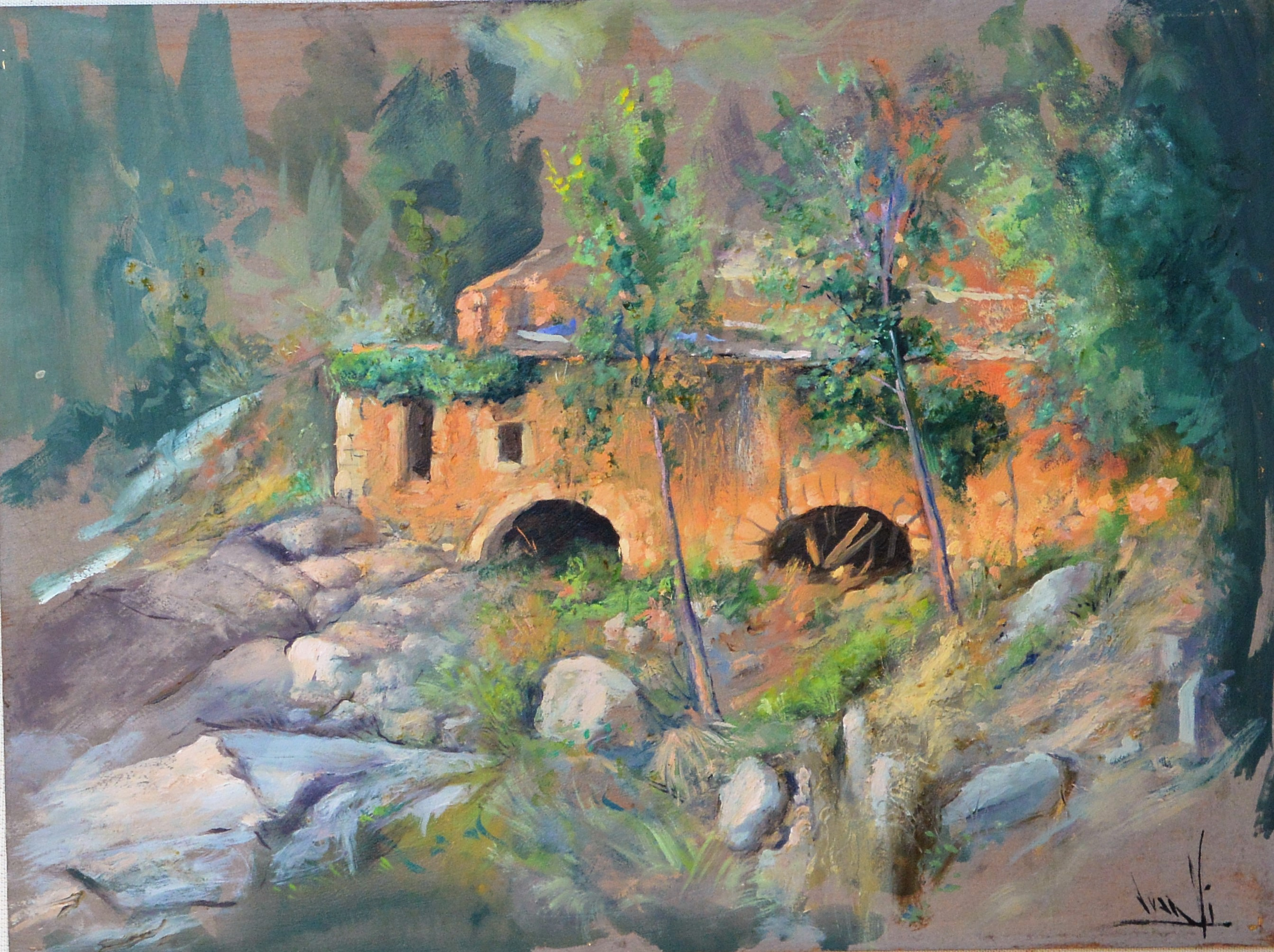 "Juan Vicente Barrio, Juanvi – ""Paisaje con molino de agua"" pintura ..."