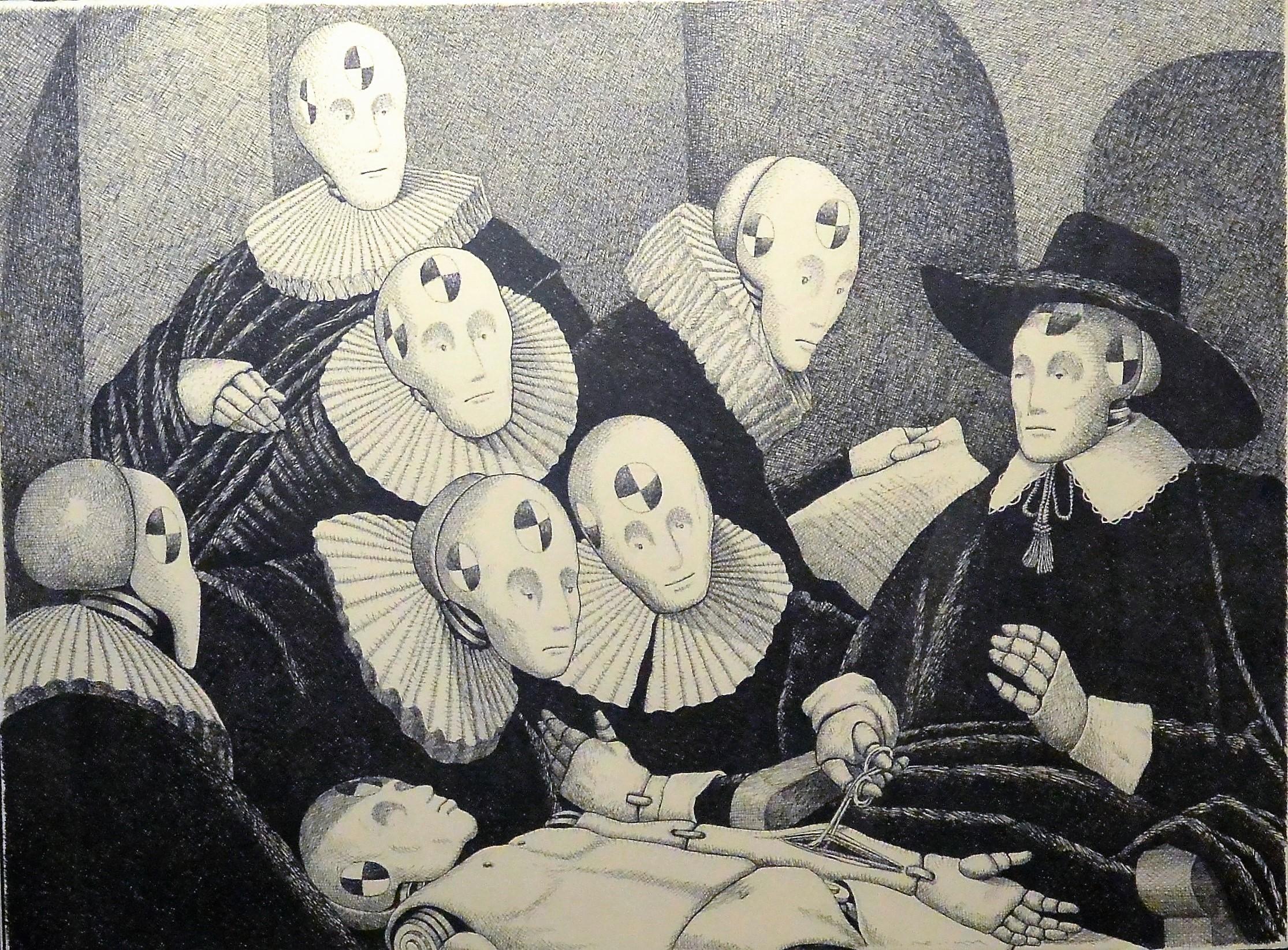"""Fernando Bellver – """"Lección de anatomía after Rembrandt"""" dibujo ..."""