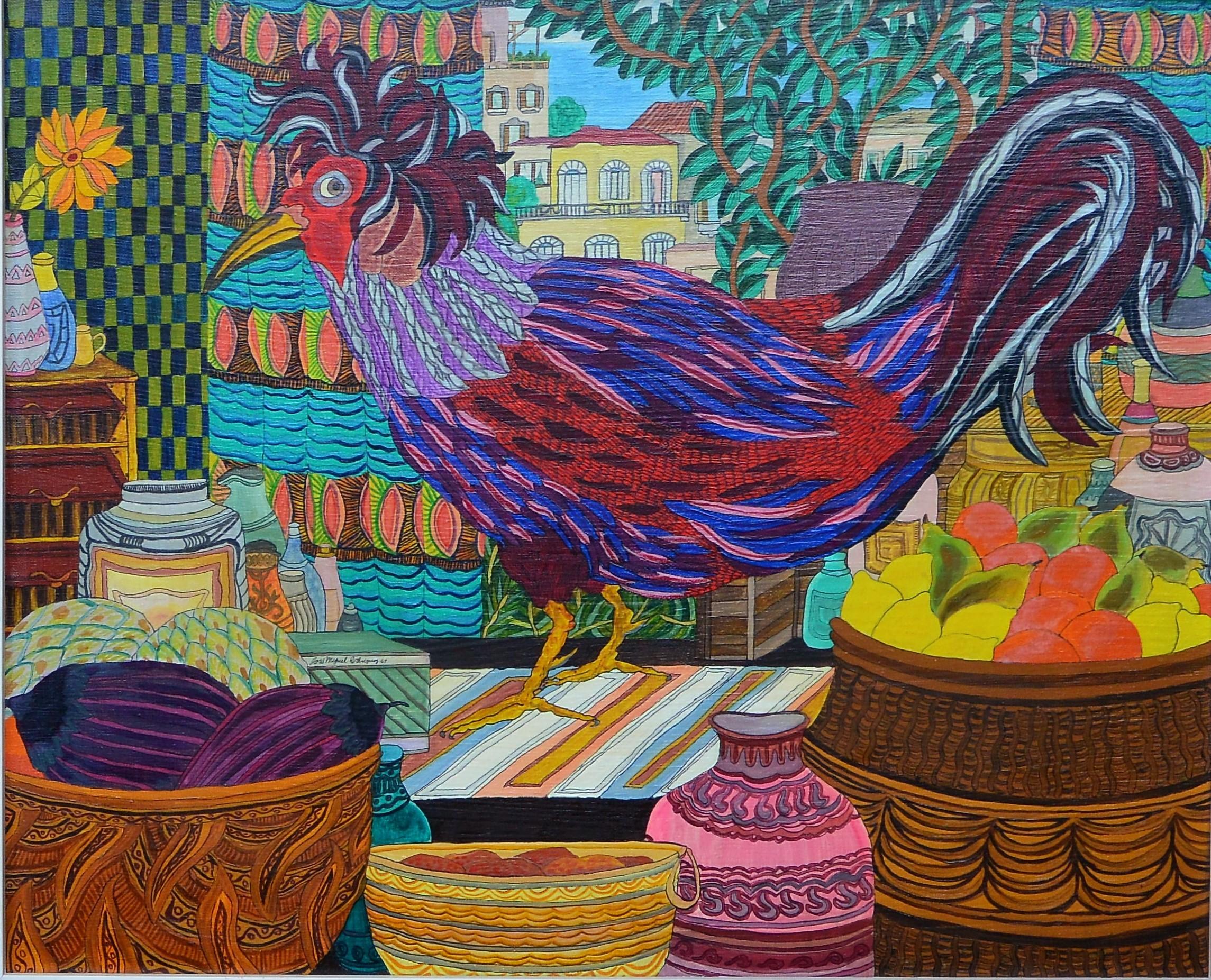 """Jose Miguel Rodriguez 1969 – """"Gallo"""" pintura acrílico lienzo ..."""