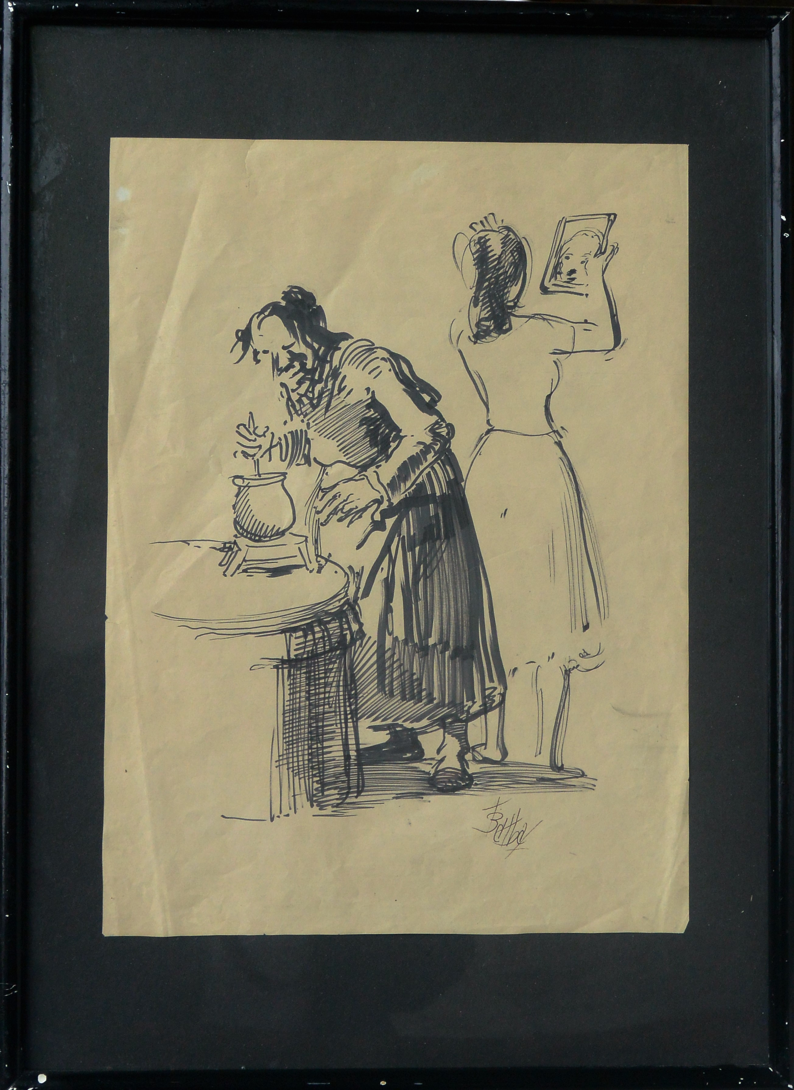 "Juan Barba – ""Abuela haciendo chocolate"" dibujo tinta papel ..."