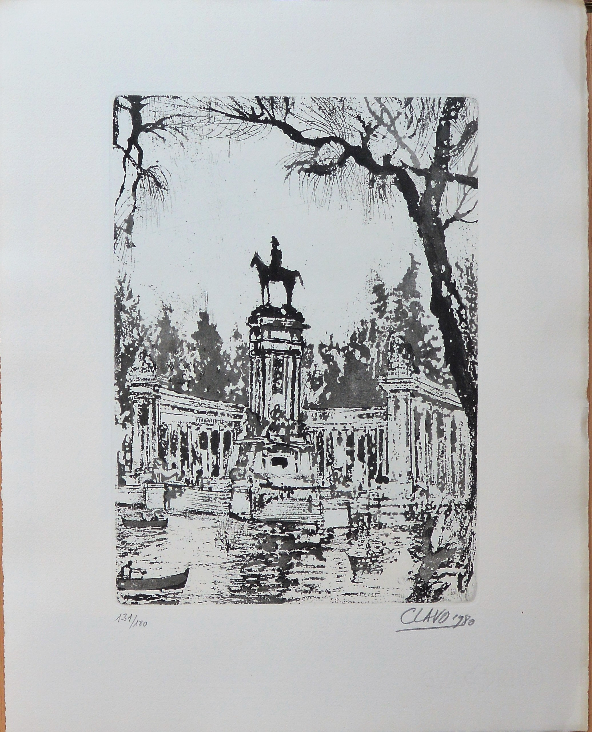 "Javier Clavo – ""Monumento a Alfonso XII, El Retiro Madrid"" grabado ..."