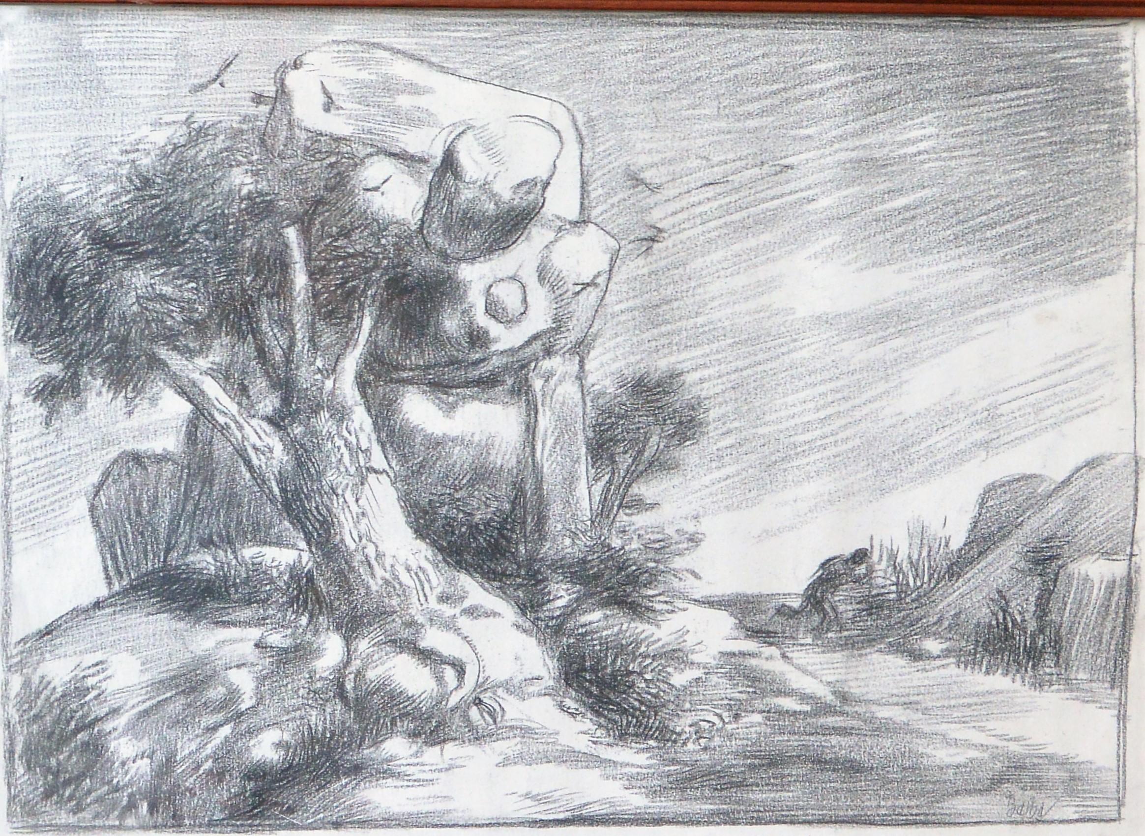 Juan Barba Paisaje Con Rocas Dibujo Lapiz Y Carboncillo Papel