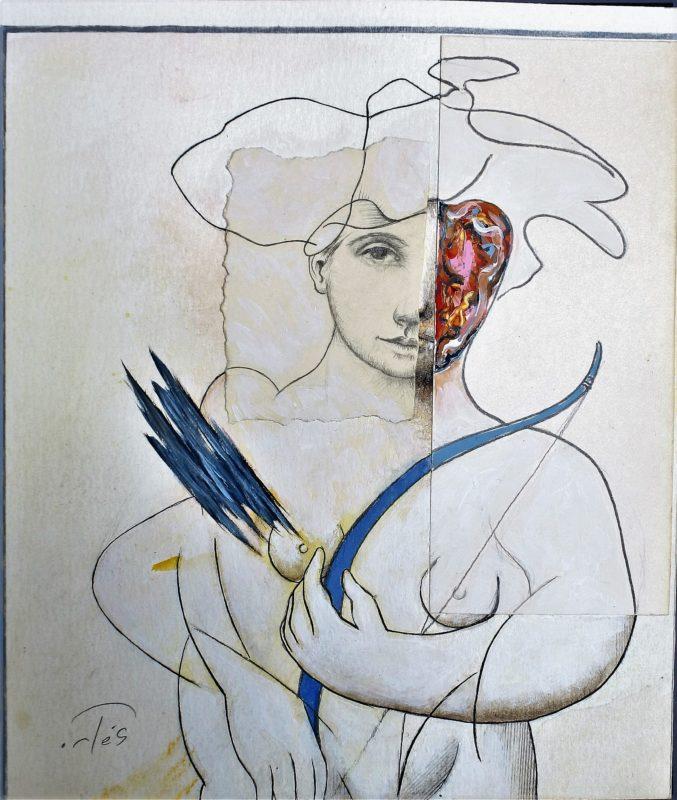 "Luis V. Ortés – ""Diana"" dibujo técnica mixta y collage cartulina ..."