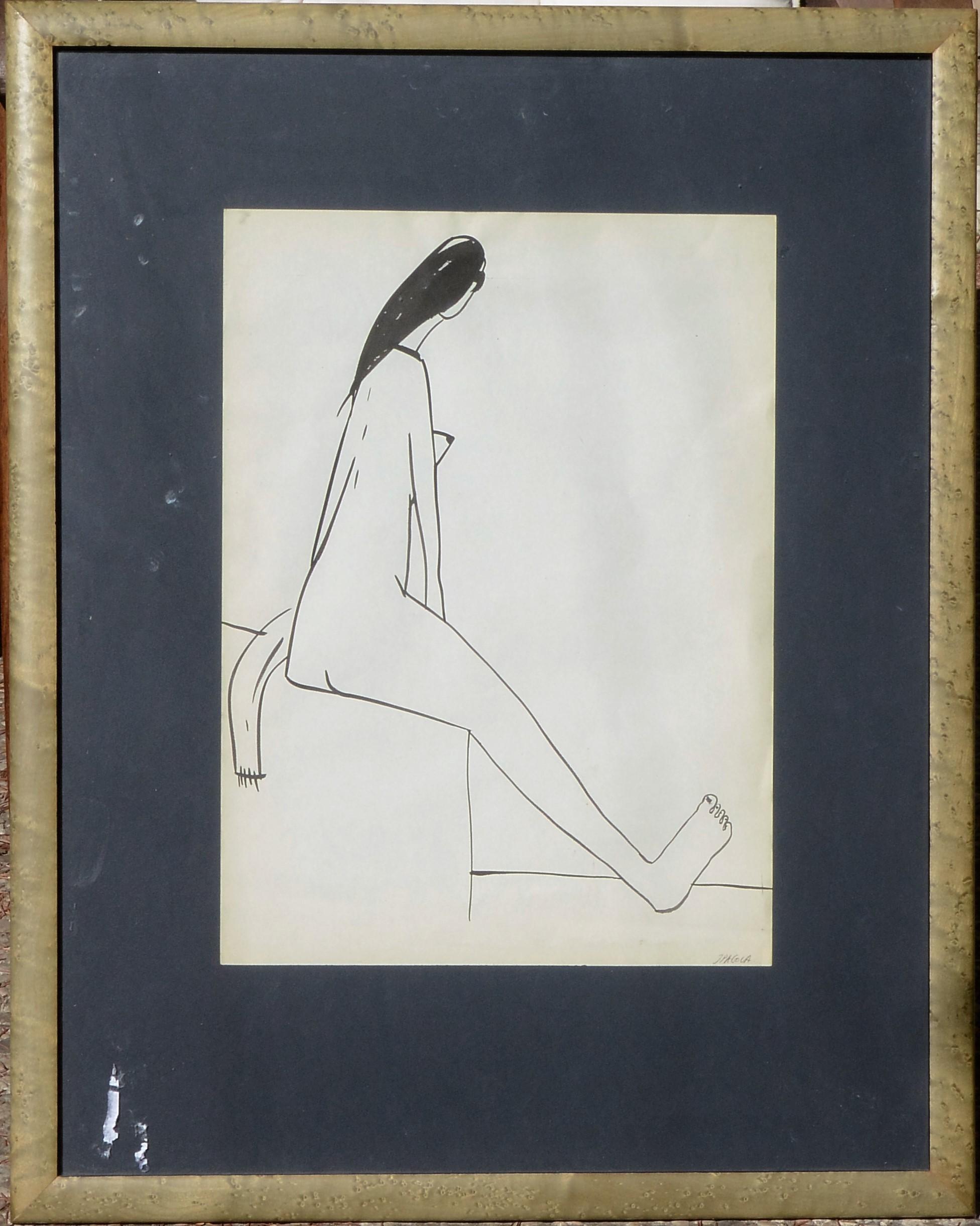 """Javier Pagola – """"Salida del baño"""" dibujo lápiz papel, enmarcado – El ..."""