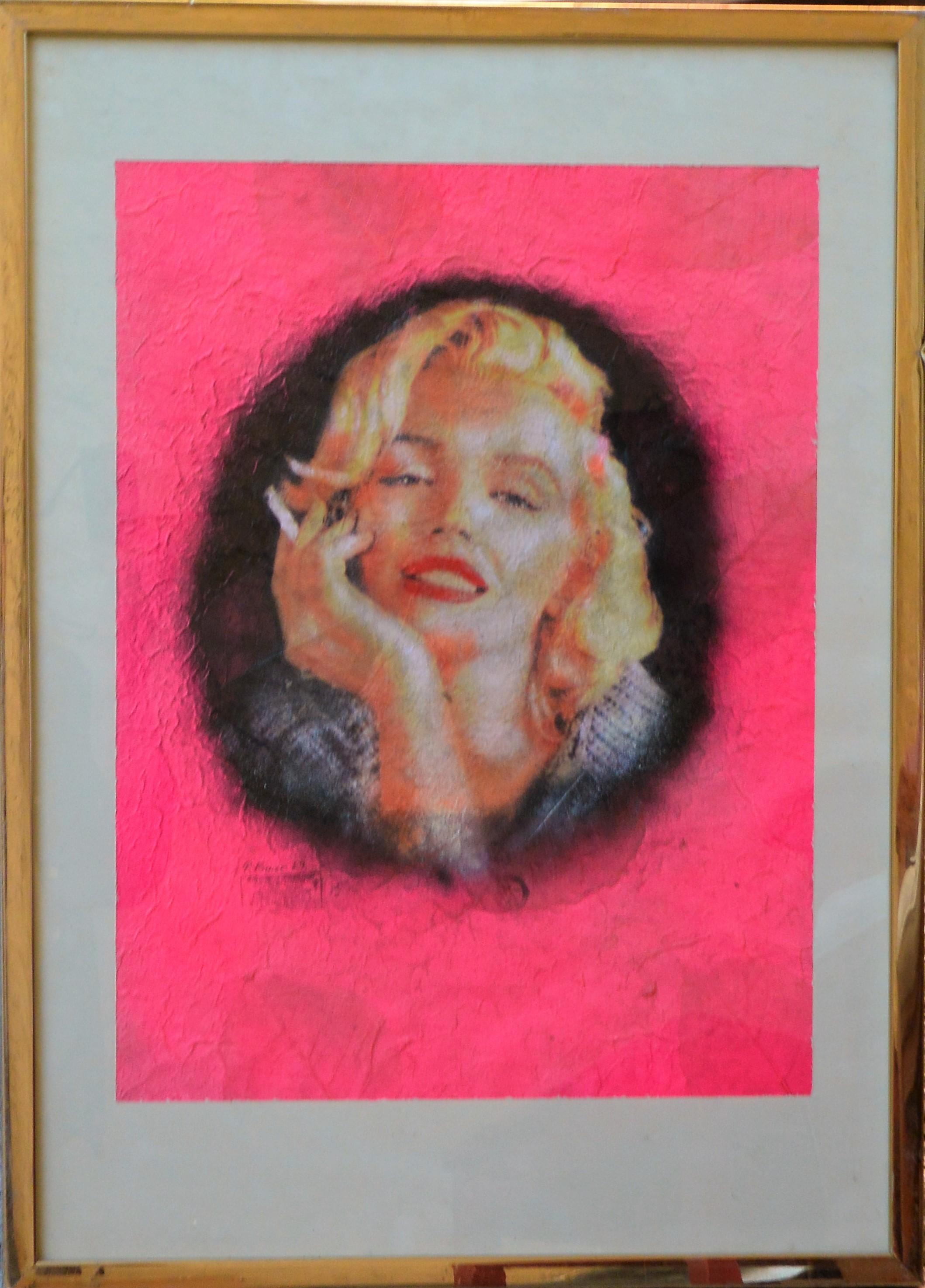 """Pietro Psaier – """"Marilyn Monroe smoking"""" serigrafía papel de coca ..."""