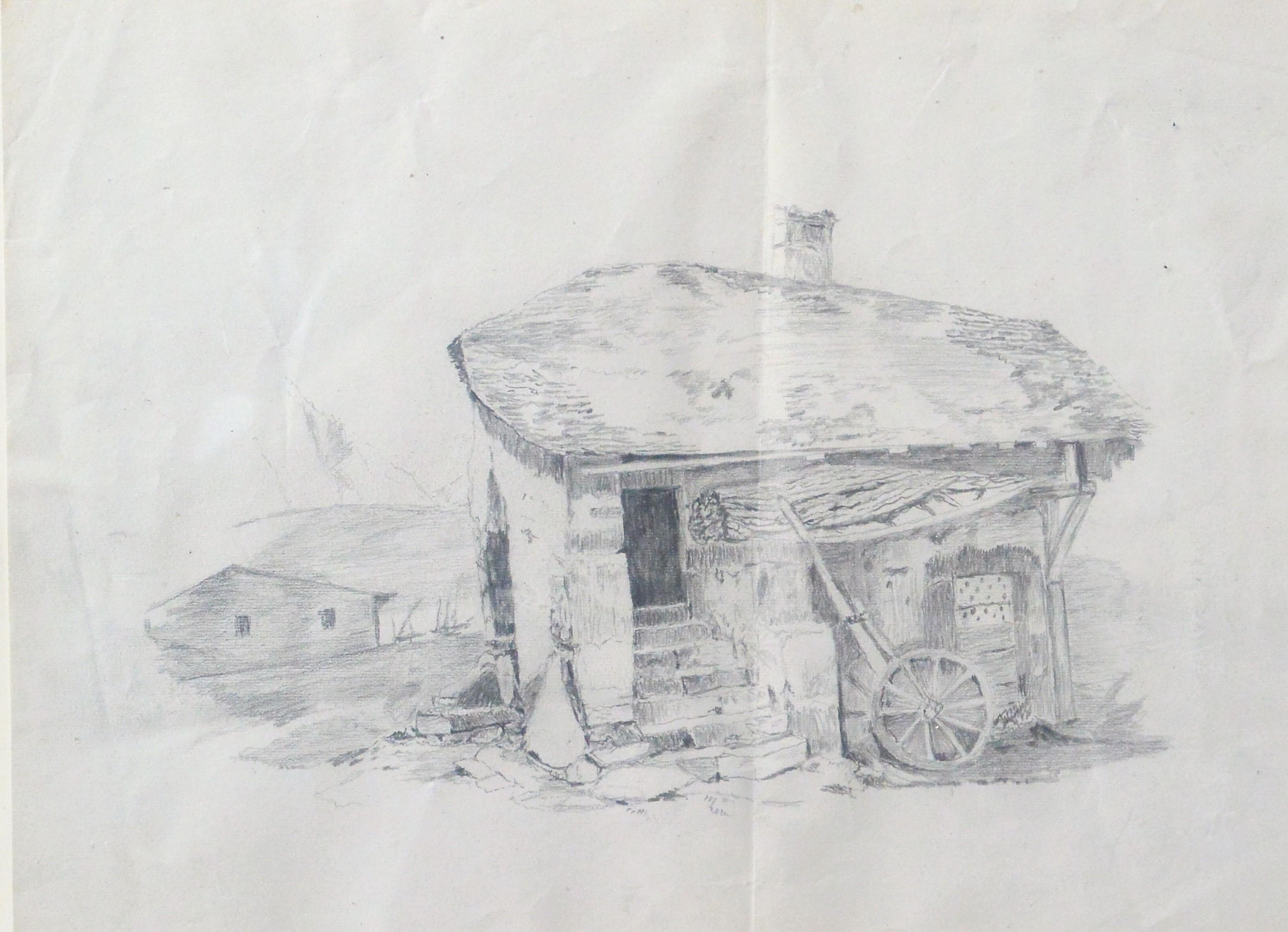 "Anónimo – ""Casa rural"" dibujo lápiz principios siglo XX, enmarcado ..."