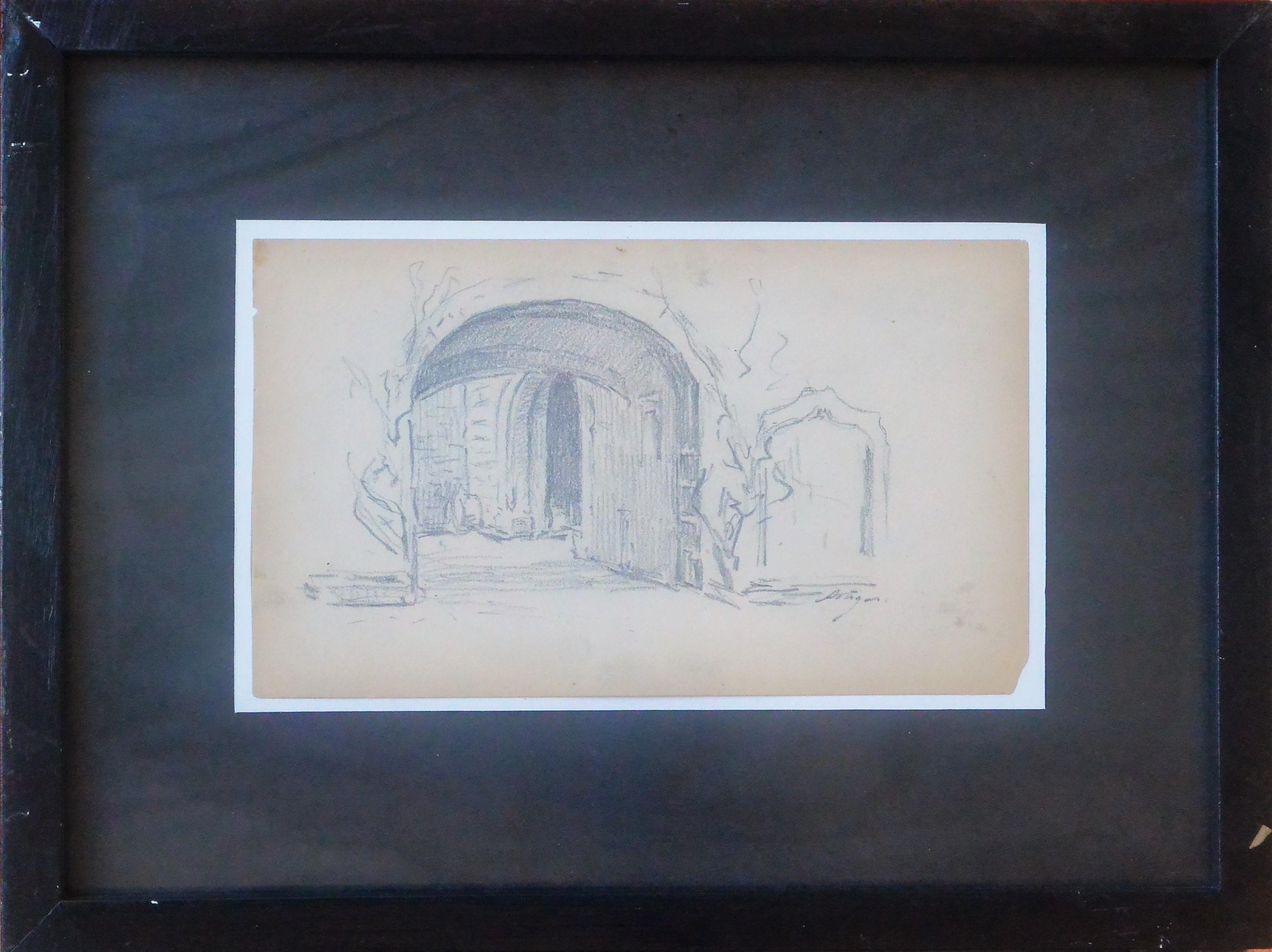 "Anónimo – ""Estudio de portón"" dibujo lápiz papel principios siglo XX ..."