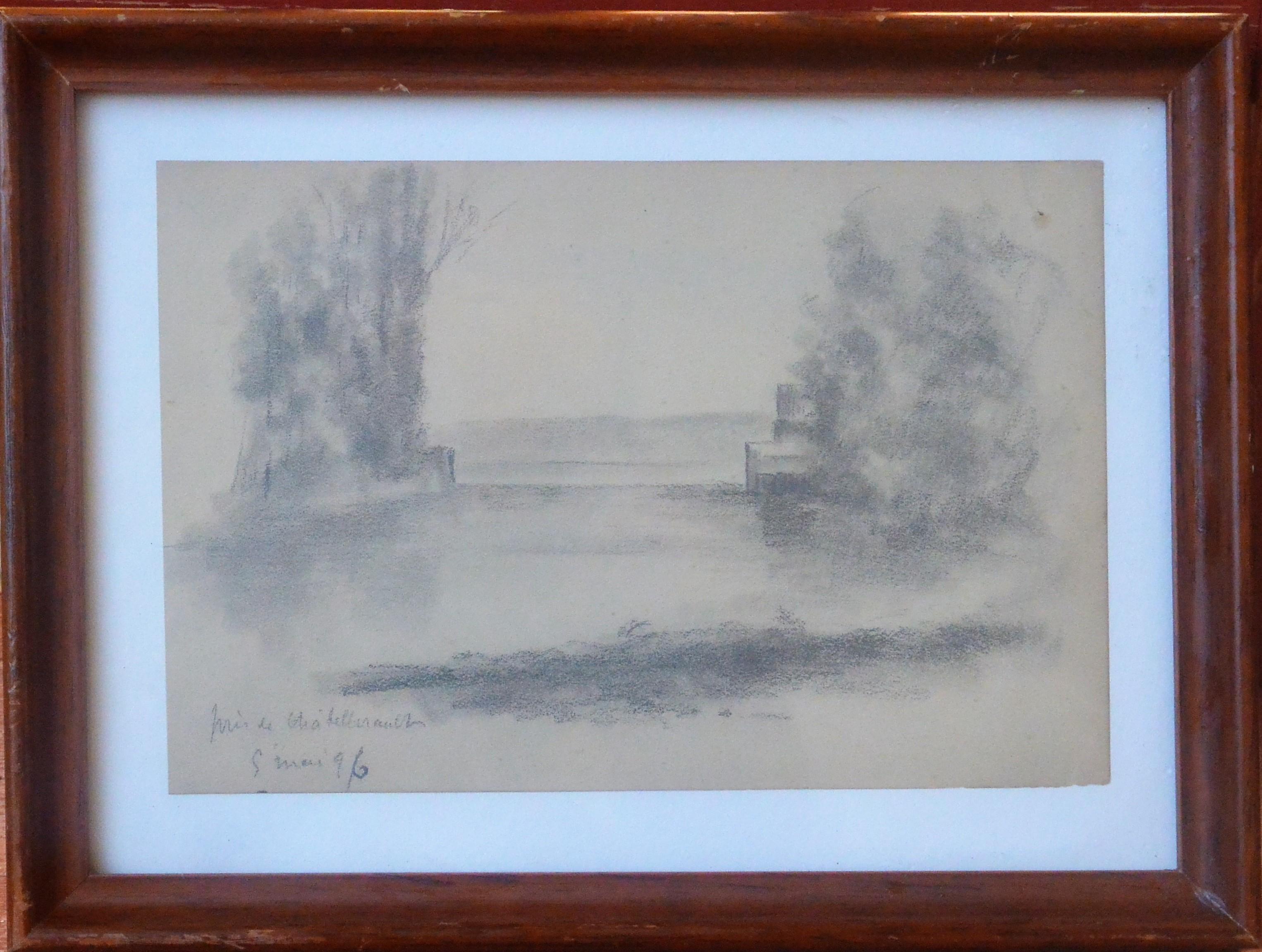 """Anónimo francés – """"Paisaje con lago"""" dibujo lápiz papel finales ..."""