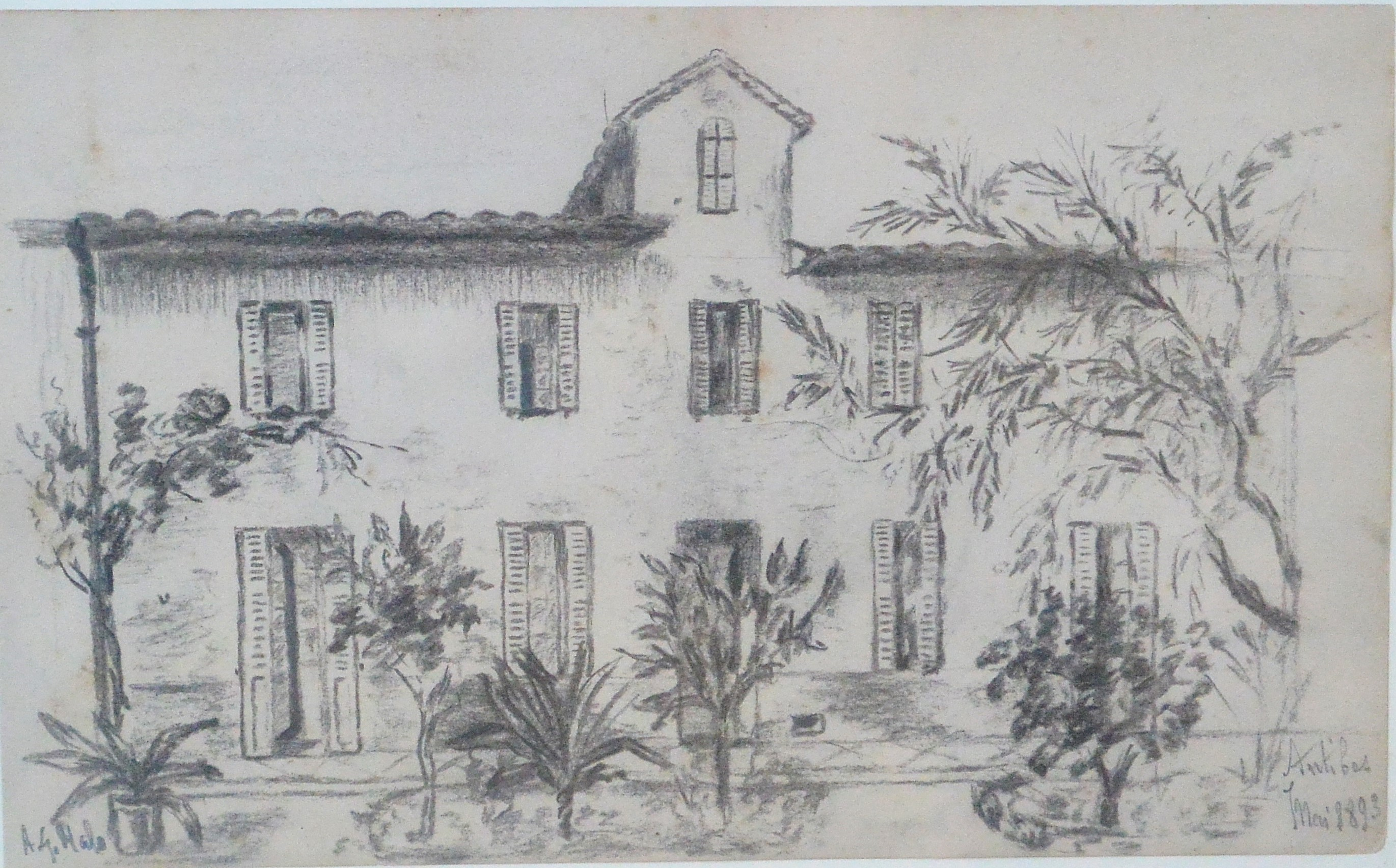 "Anónimo francés – ""Casa solariega en Antibes"" dibujo lápiz papel ..."