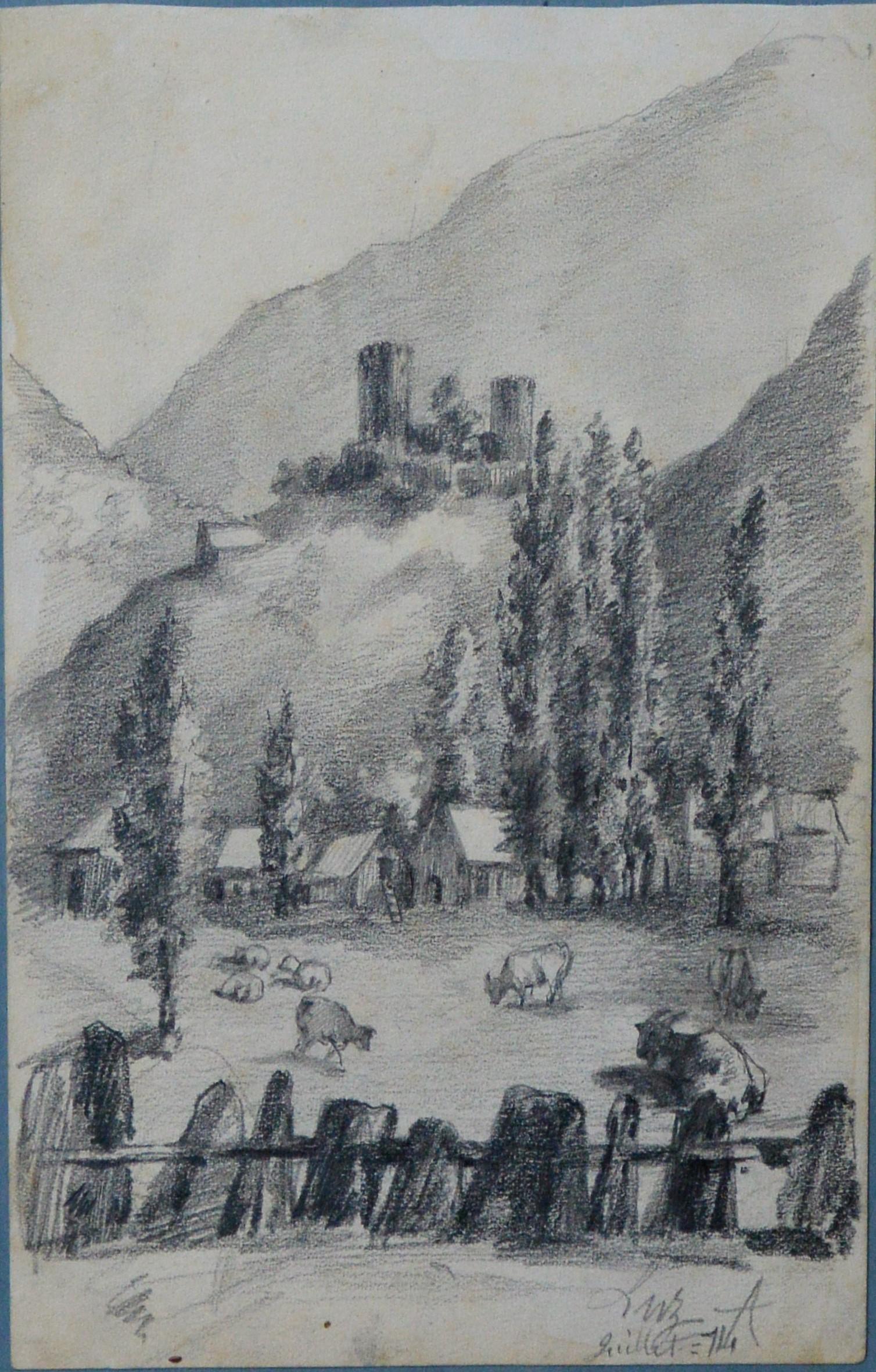 "Anónimo francés – ""Paisaje rural de montaña"" dibujo lápiz papel ..."