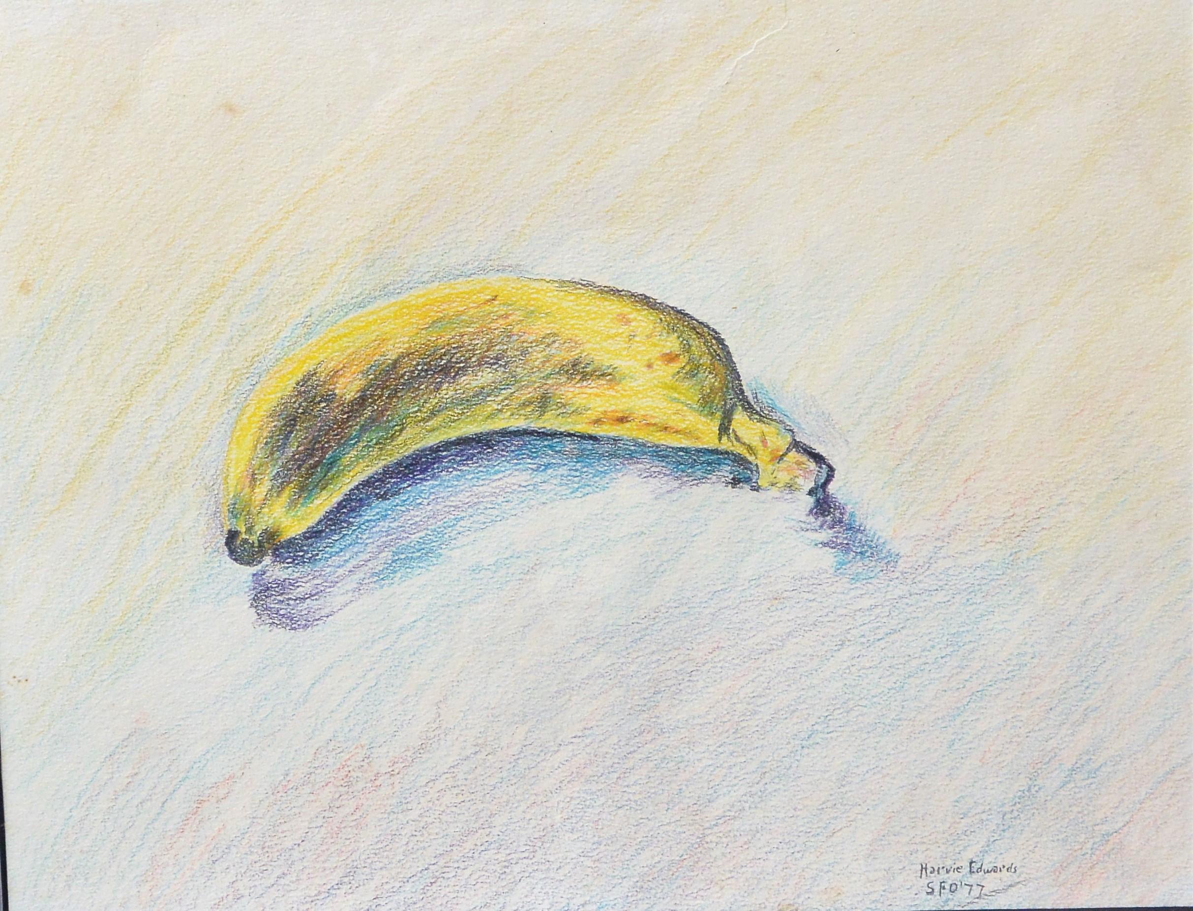 Harvie Edwards Banana Dibujo Lápices Colores Papel Enmarcado