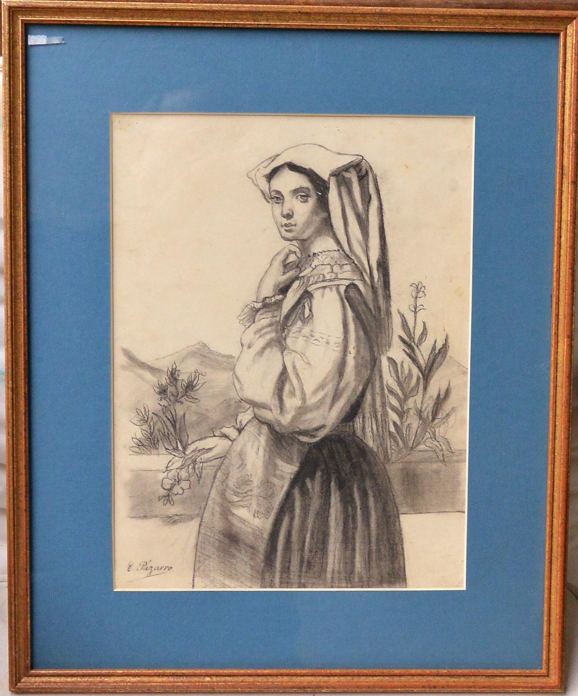 """Cecilio Pizarro – """"Joven campesina"""" dibujo lápiz y carboncillo papel ..."""