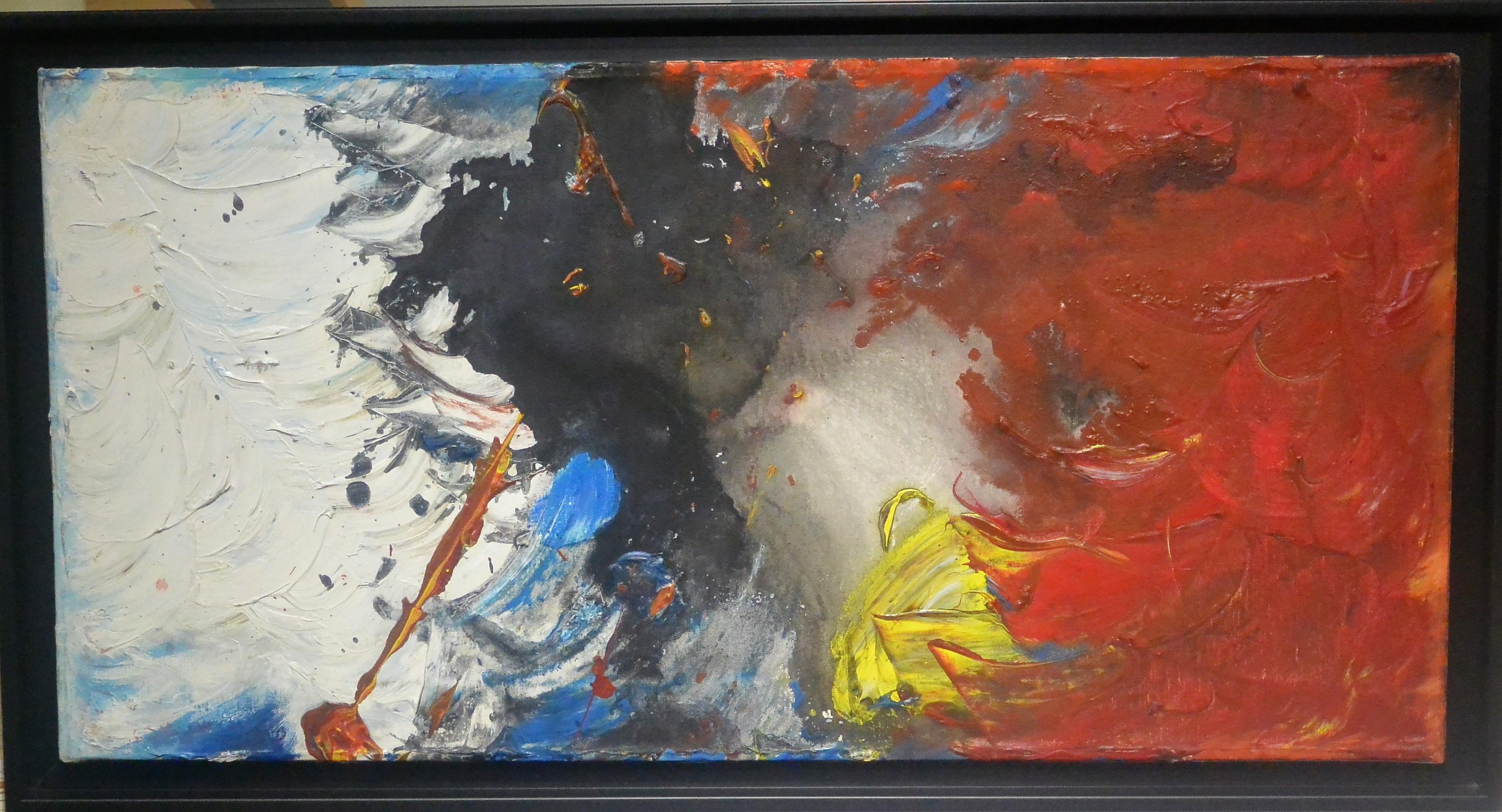 """Anónimo estadounidense – """"Composición abstracta"""" pintura oleo lienzo ..."""