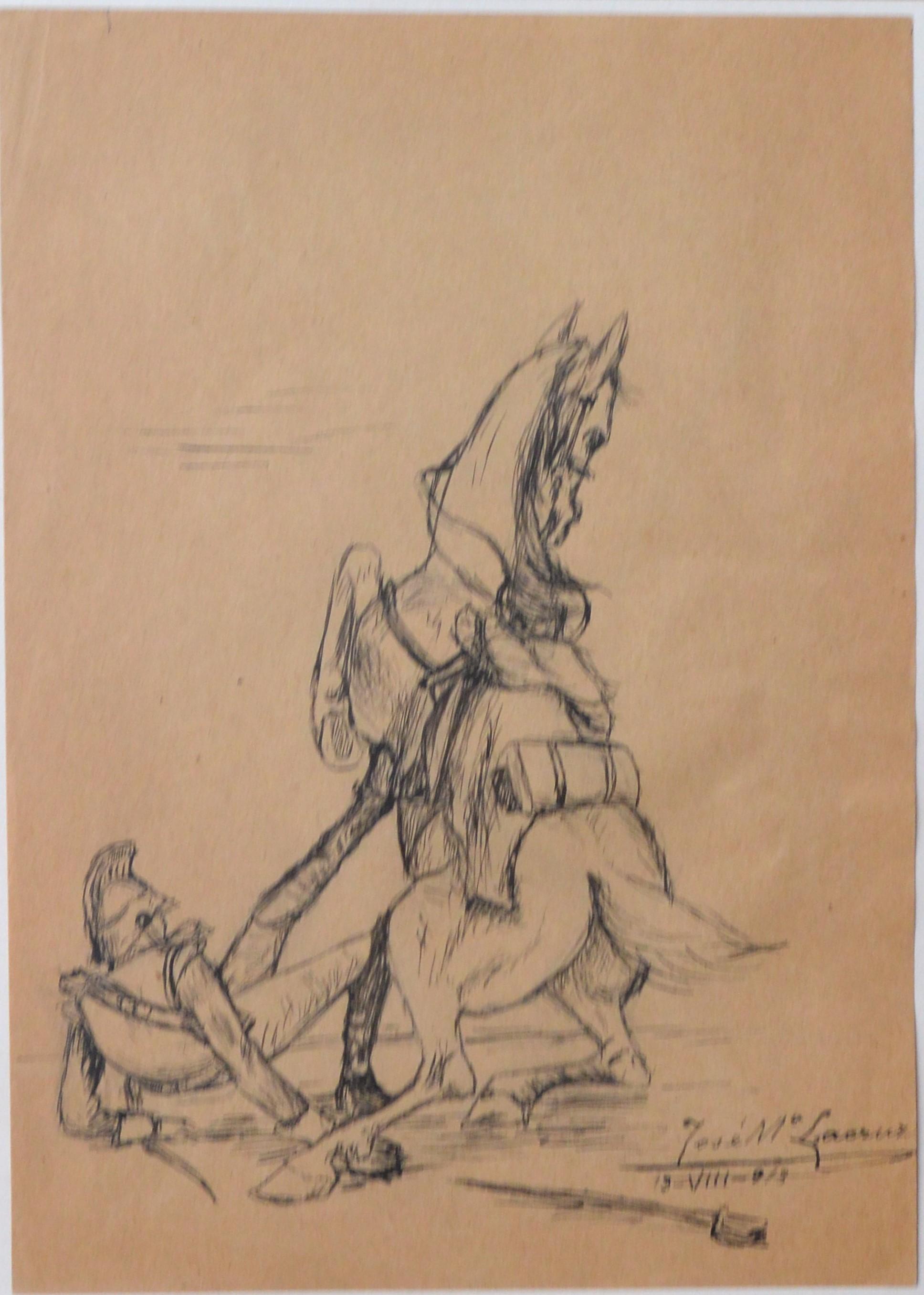 "Jose María Lacruz 1913 – ""Caida del caballo"" dibujo plumilla papel ..."