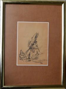 lacruz-jose-maria-1913-caida-del-caballo-dibujo-plumilla-papel-enmarcado-dibujo-21x15-cms-y-marco-44x3250-cms-3