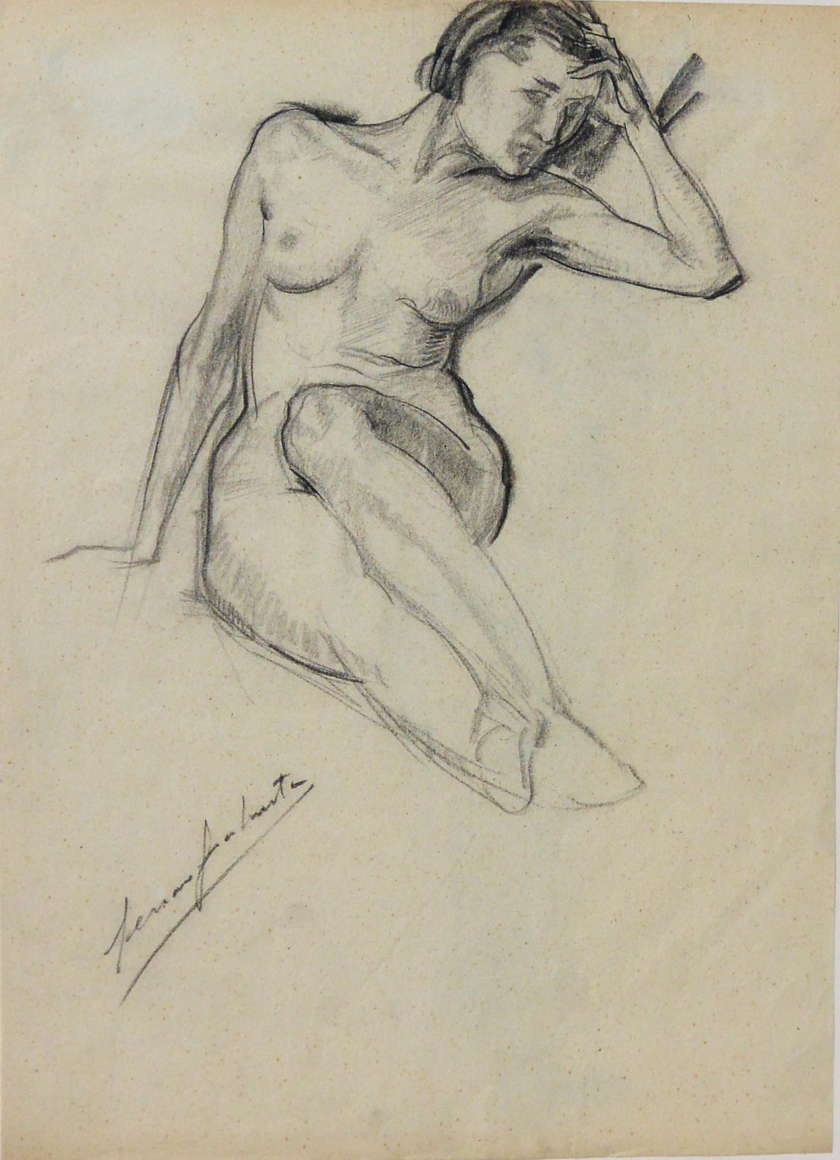 Genaro Lahuerta Estudio De Mujer Desnuda Dibujo Carboncillo Papel Enmarcado