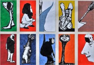 Pagola Javier, conjunto de 10 dibujos técnica mixta cartulina, 21,50x11 cms. cada uno, marco 54x75 cms (14) - copia