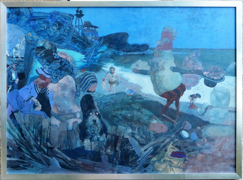 """Manuel Alcorlo 1972 – """"El gallo en la playa"""" pintura oleo tabla ..."""