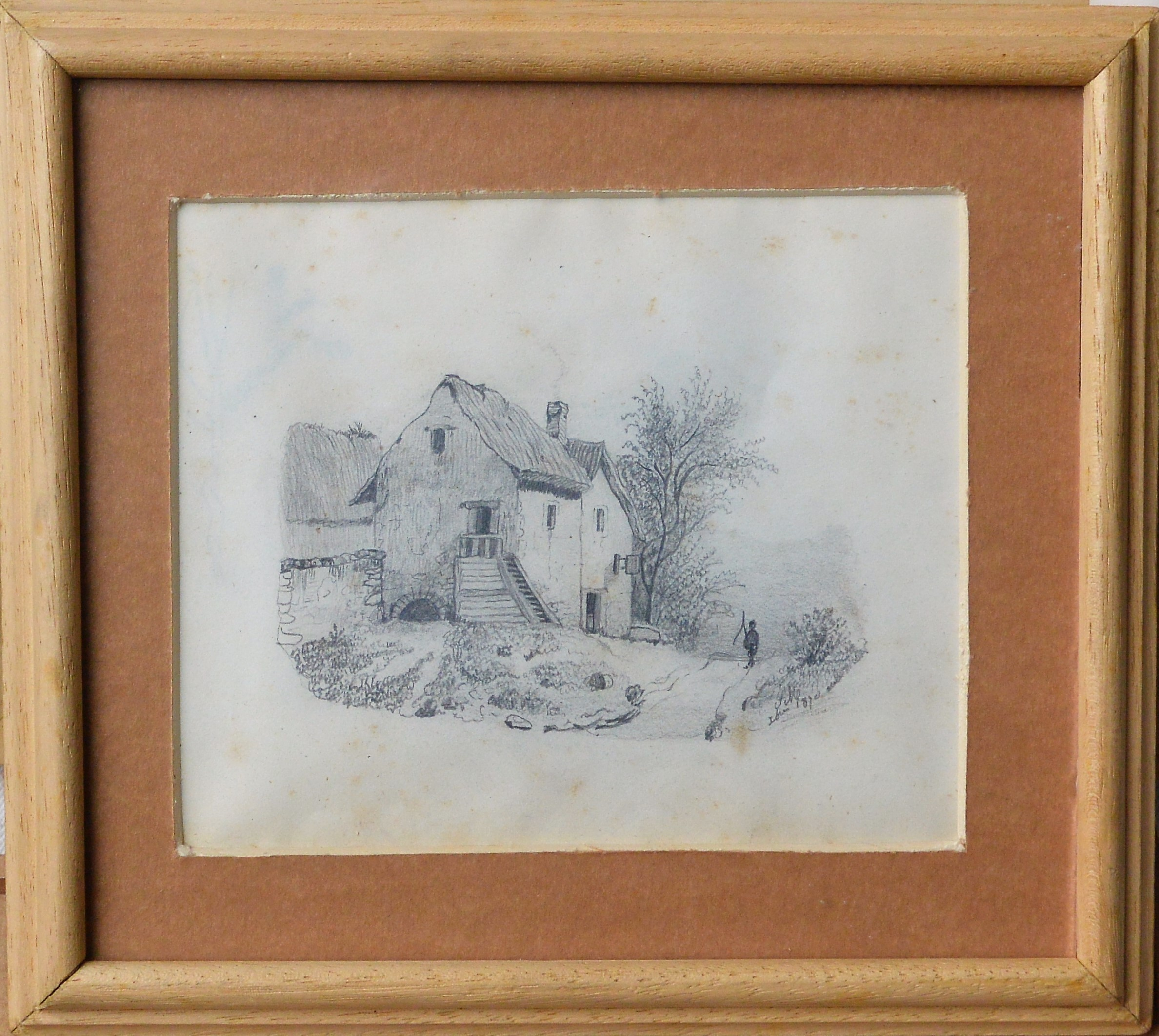 "Anónimo francés – ""Casa de campo"" dibujo finales siglo XIX lápiz ..."