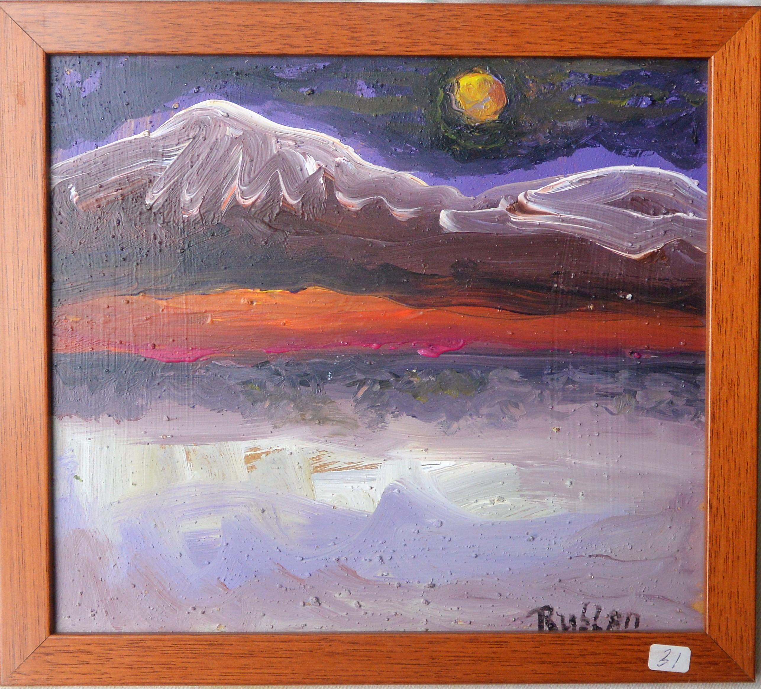 """Ruslan (pintor ruso) – """"Paisaje con montaña nevada"""" pintura oleo ..."""