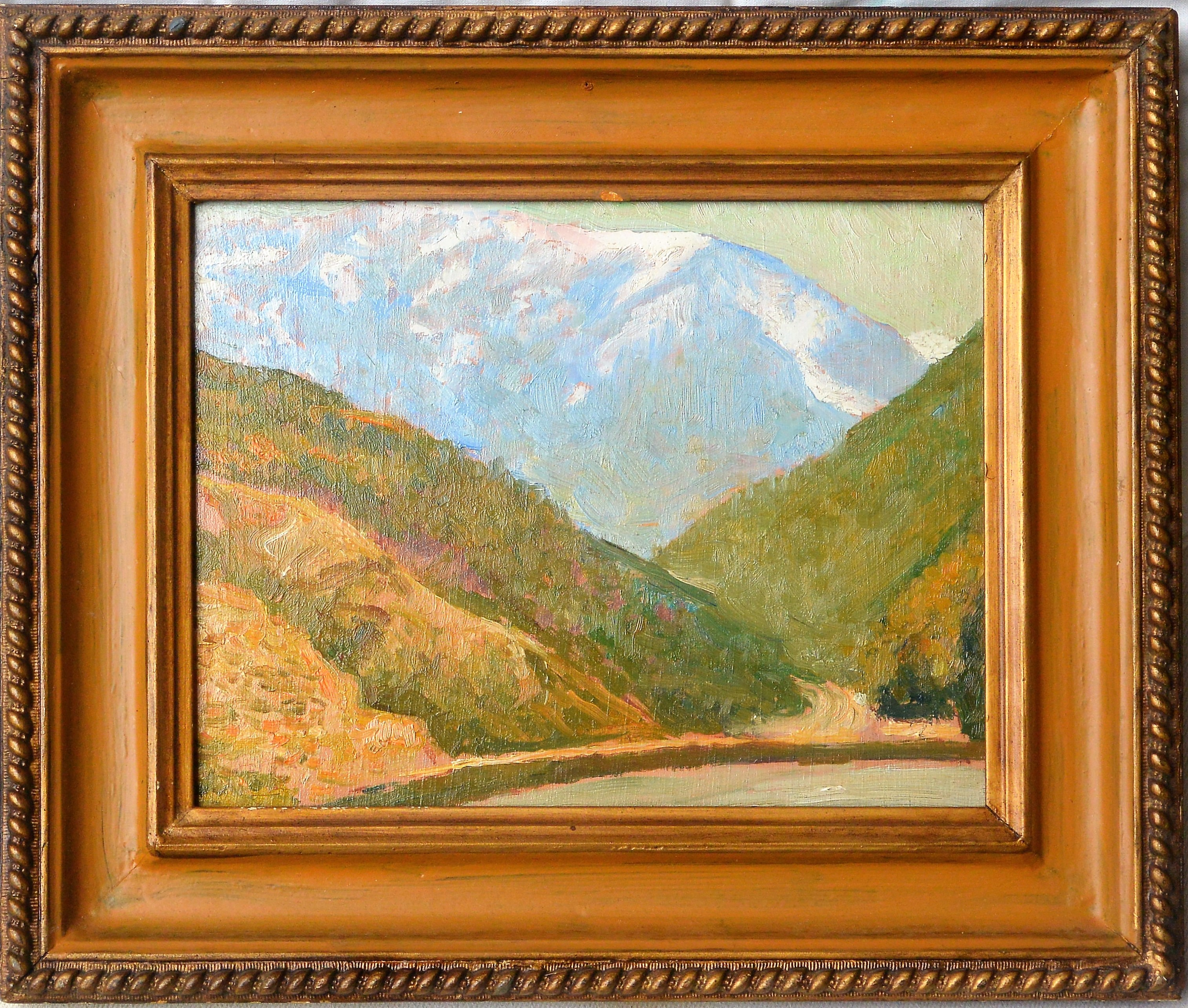 """Pedro Serra Farnés – """"Paisaje de montaña"""" pintura oleo tabla ..."""