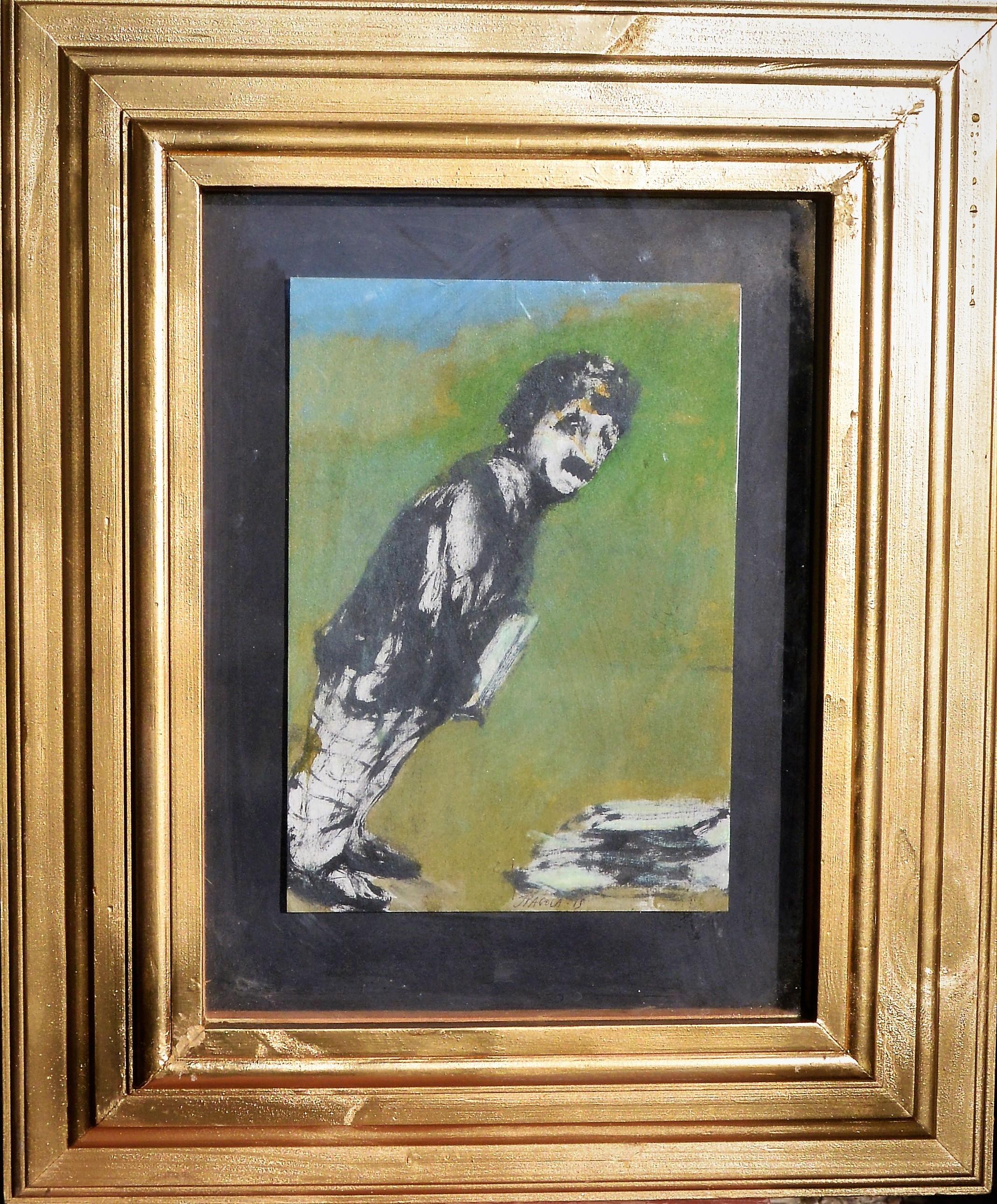 """Javier Pagola – """"Hombre inclinado""""pintura acrílico cartulina ..."""