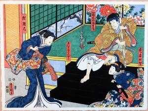 Toyokuni, Las máscaras resentidas la monka Keidai y la concubina graciosa Mura en la vida de Yaso Tsutsuragi, Xilografía original color, edición de 298 ejemplares, 38x51 cms. (1)